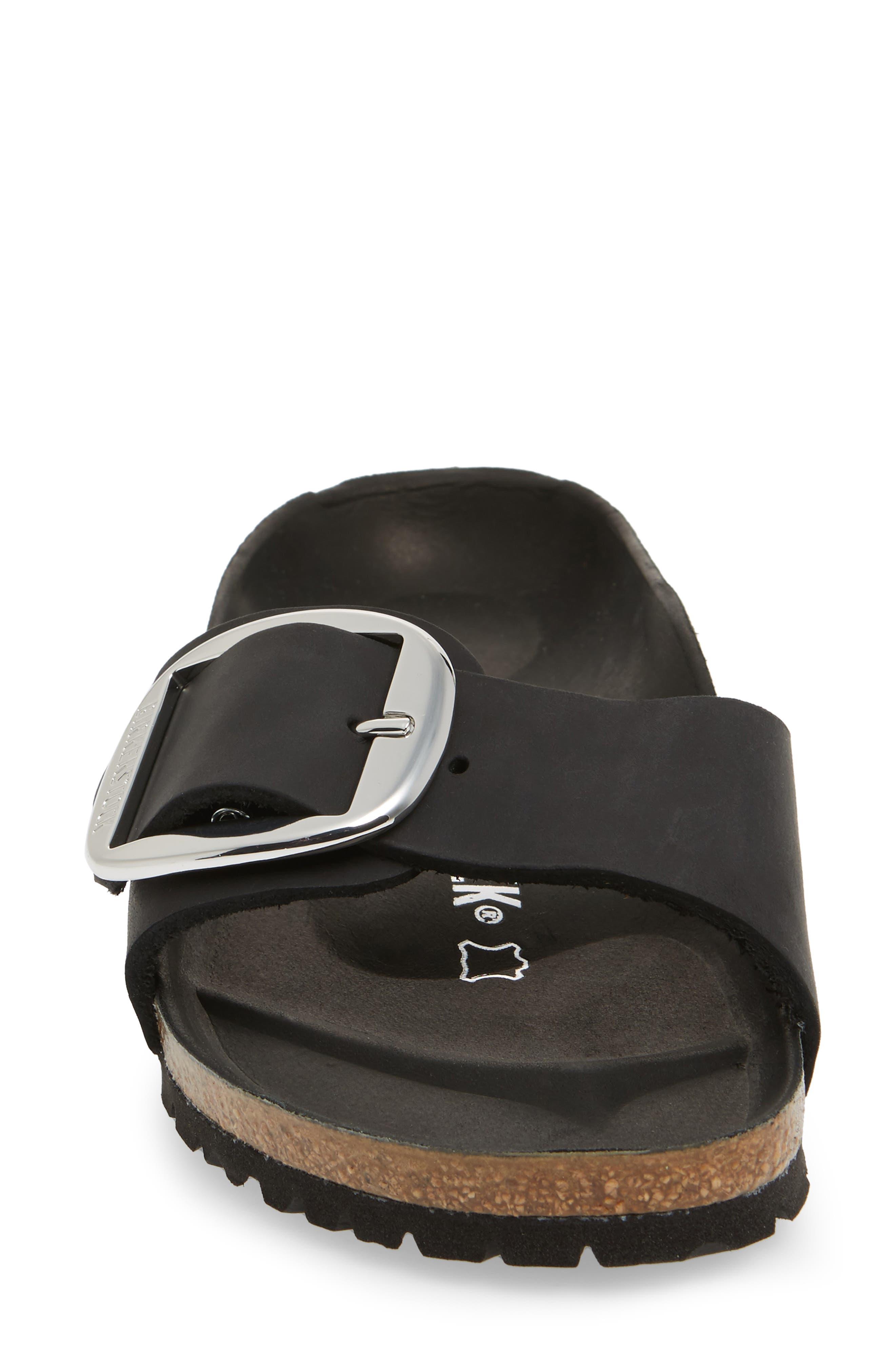 Madrid Big Buckle Slide Sandal,                             Alternate thumbnail 4, color,                             Black Leather