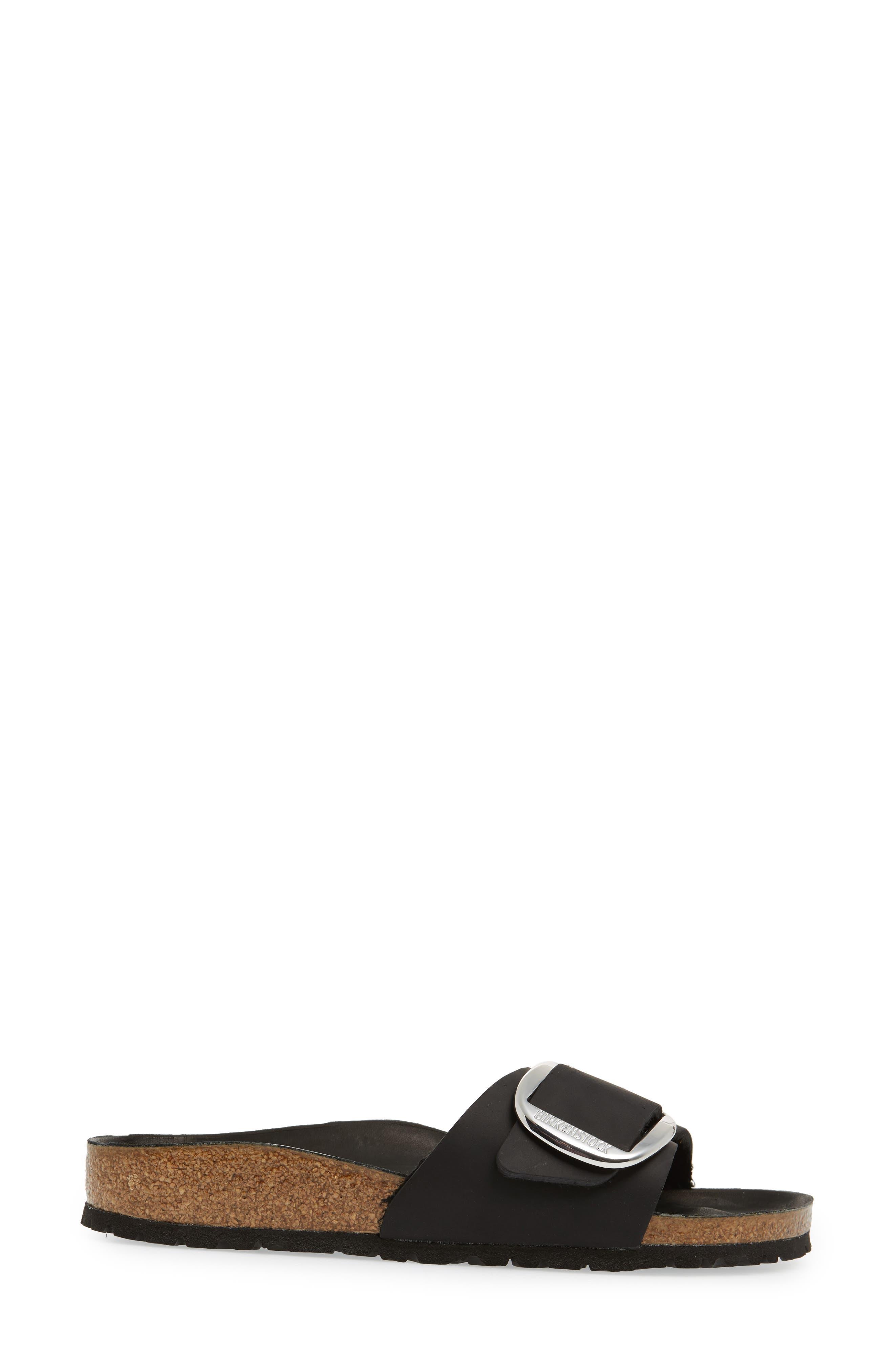 Madrid Big Buckle Slide Sandal,                             Alternate thumbnail 3, color,                             Black Leather