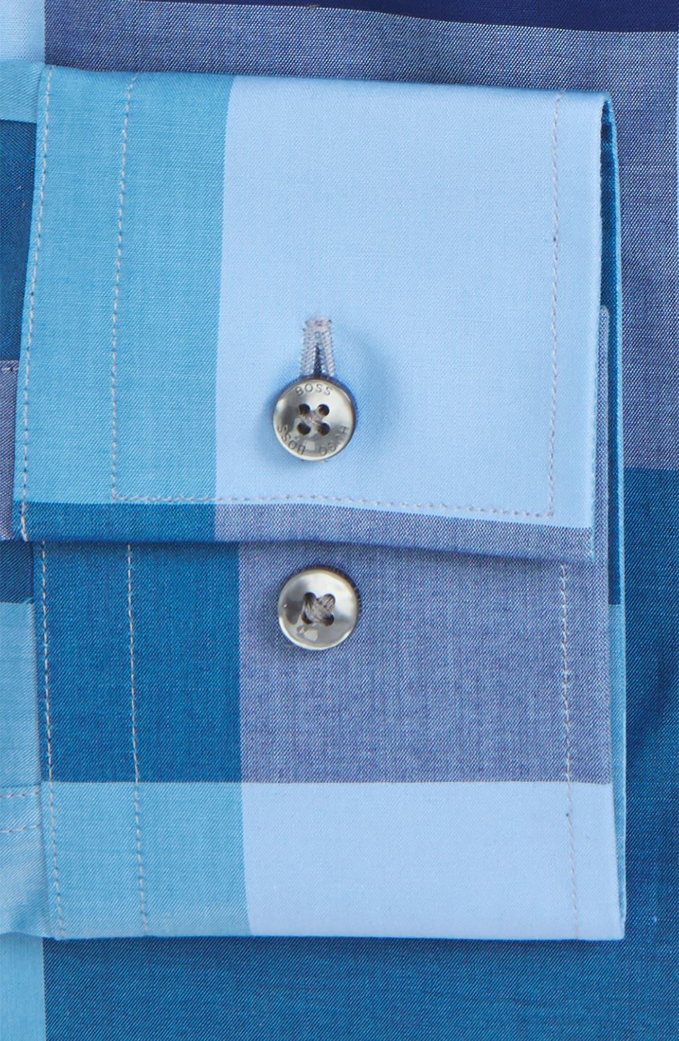 Jenno Slim Fit Check Dress Shirt,                             Alternate thumbnail 5, color,                             Blue