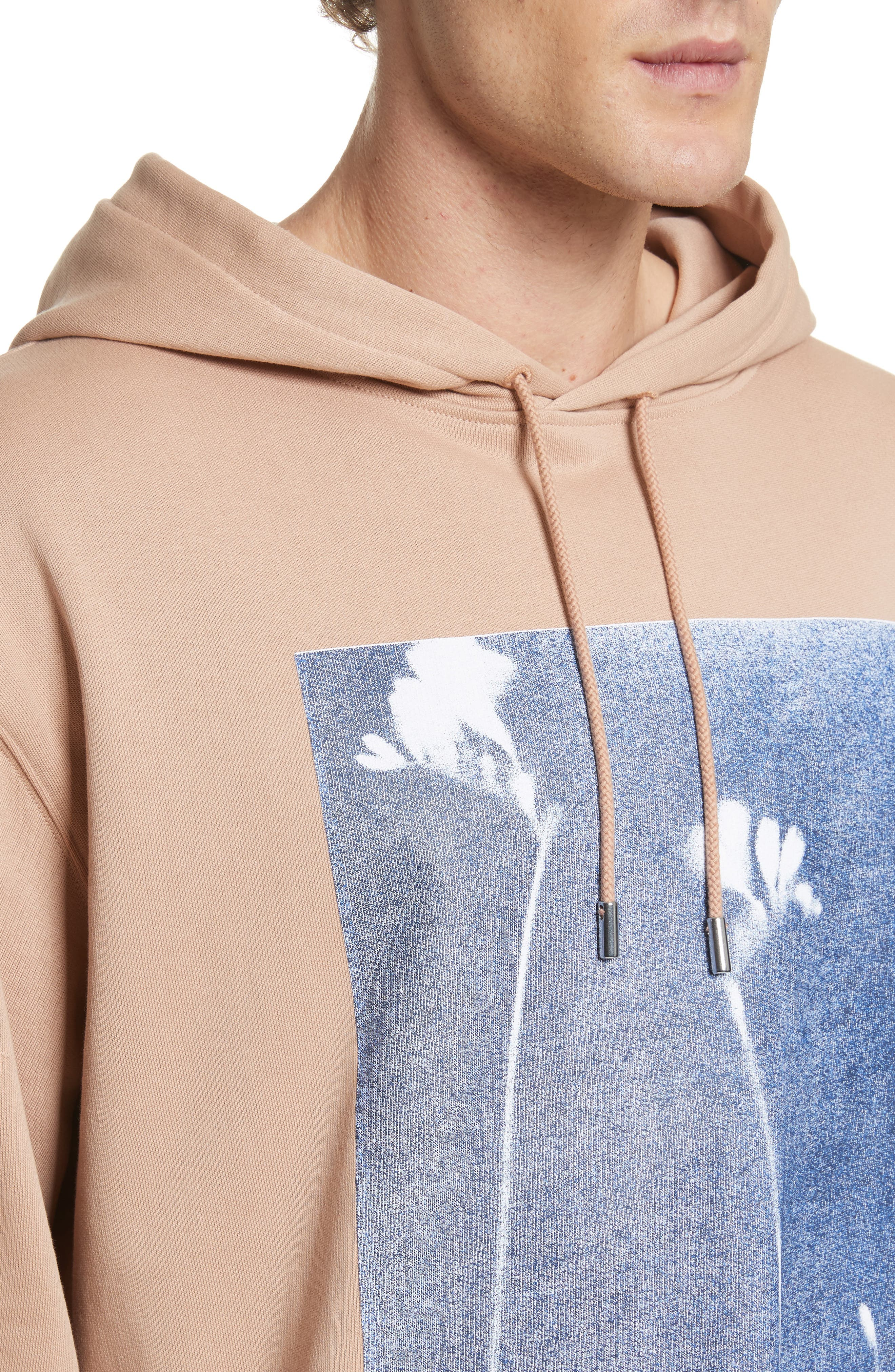 Fala Print Oversized Hoodie,                             Alternate thumbnail 4, color,                             Beige