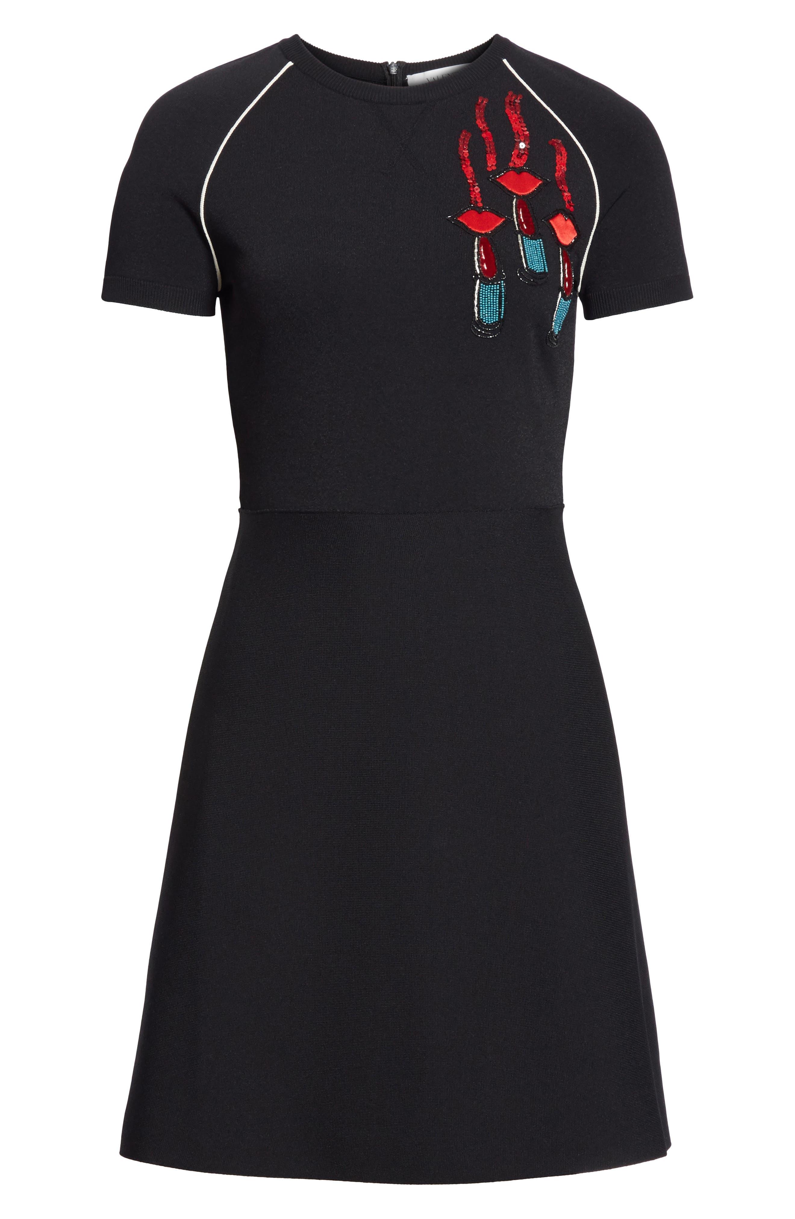 Lipstick Embellished A-Line Dress,                             Alternate thumbnail 7, color,                             Black