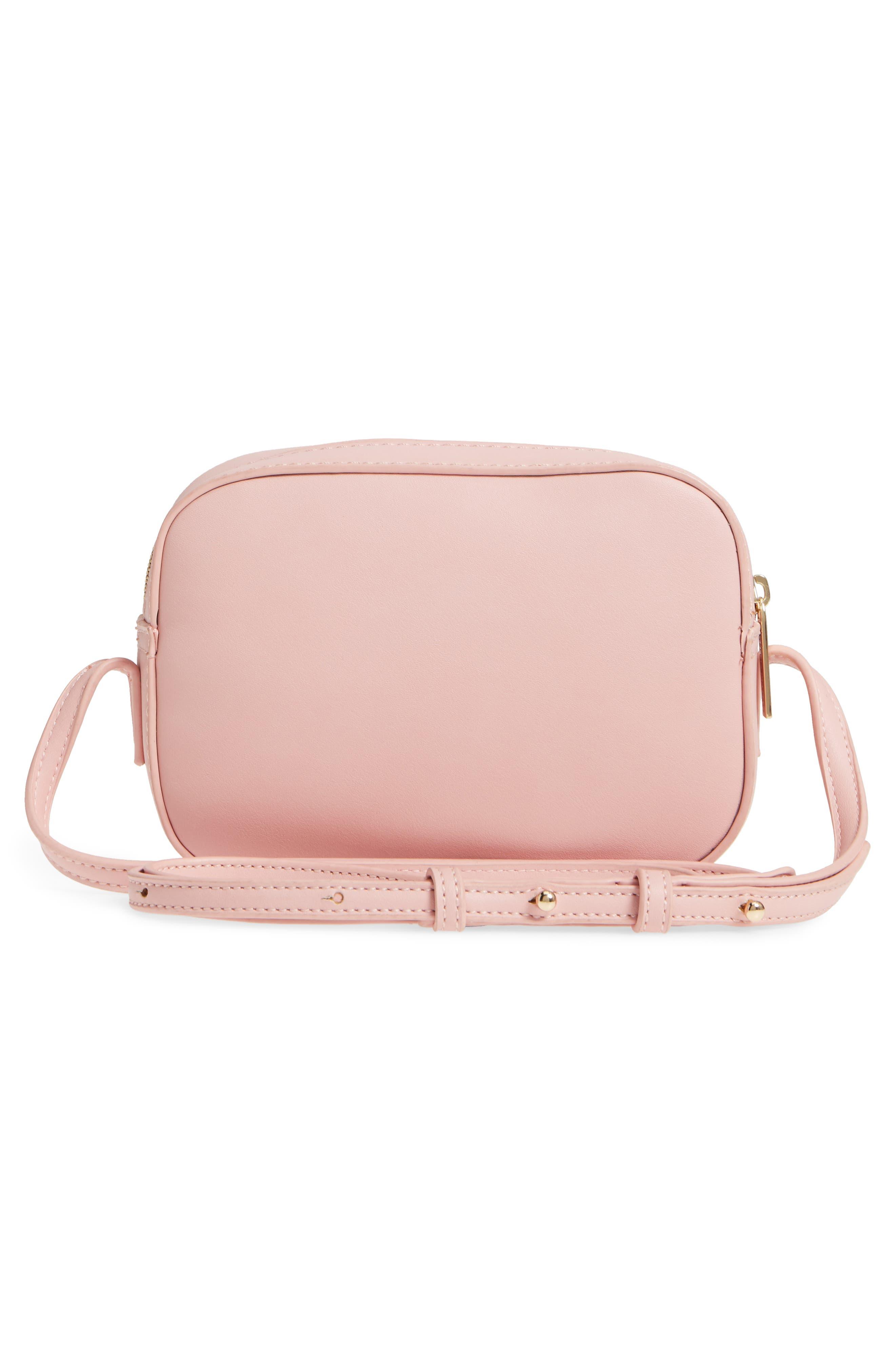 Faux Leather Box Bag,                             Alternate thumbnail 3, color,                             Pink