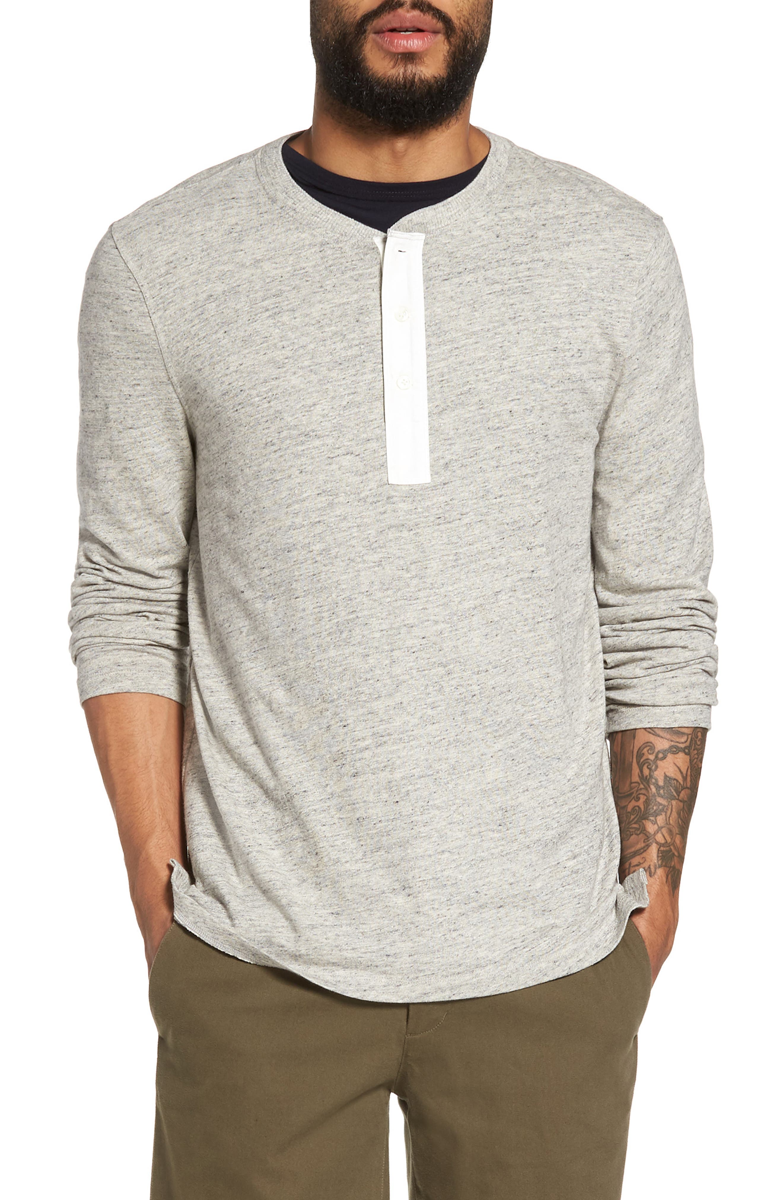 Military Slim Fit Henley,                         Main,                         color, Grey