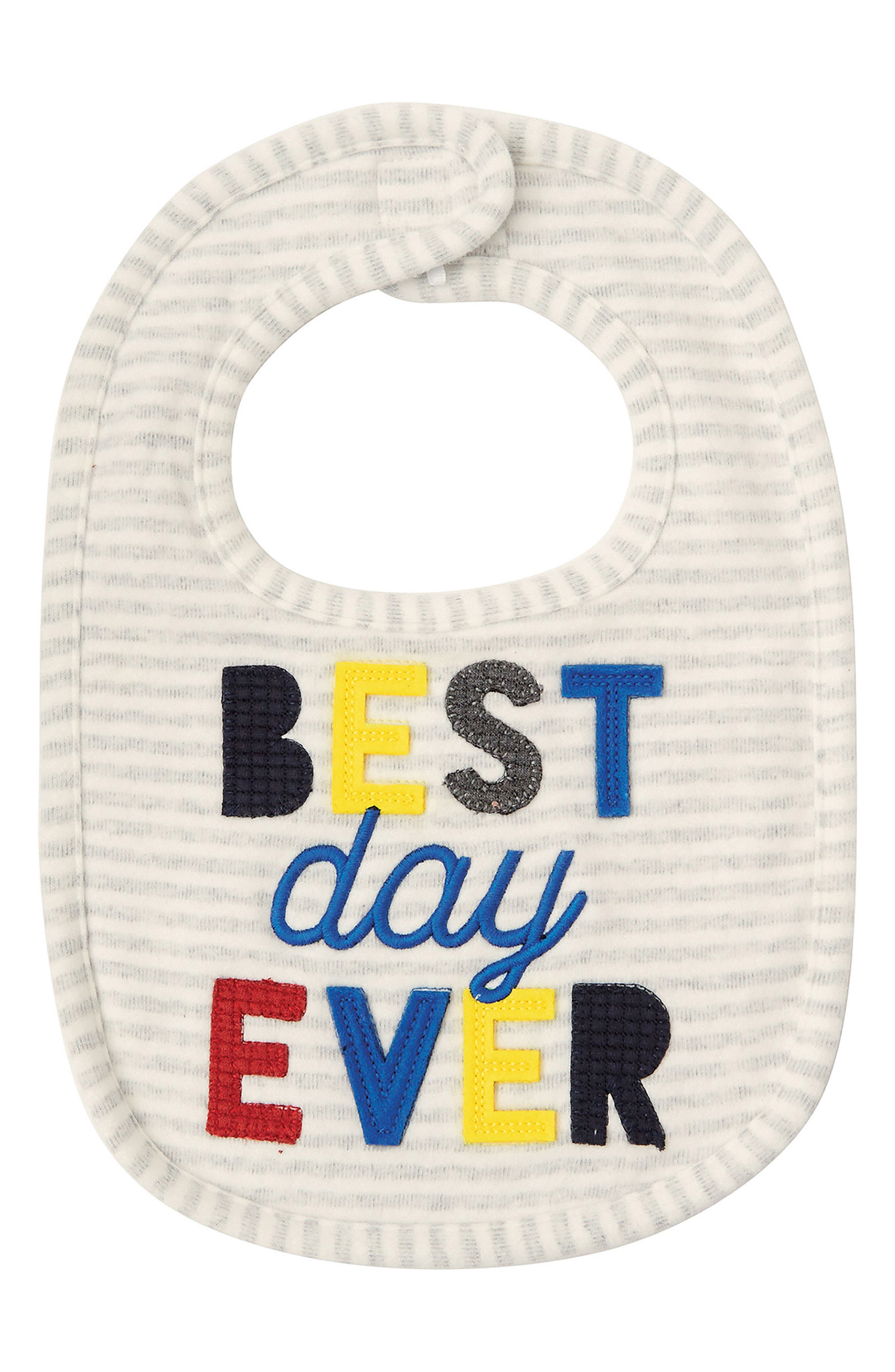Best Day Ever Bib,                         Main,                         color, Gray