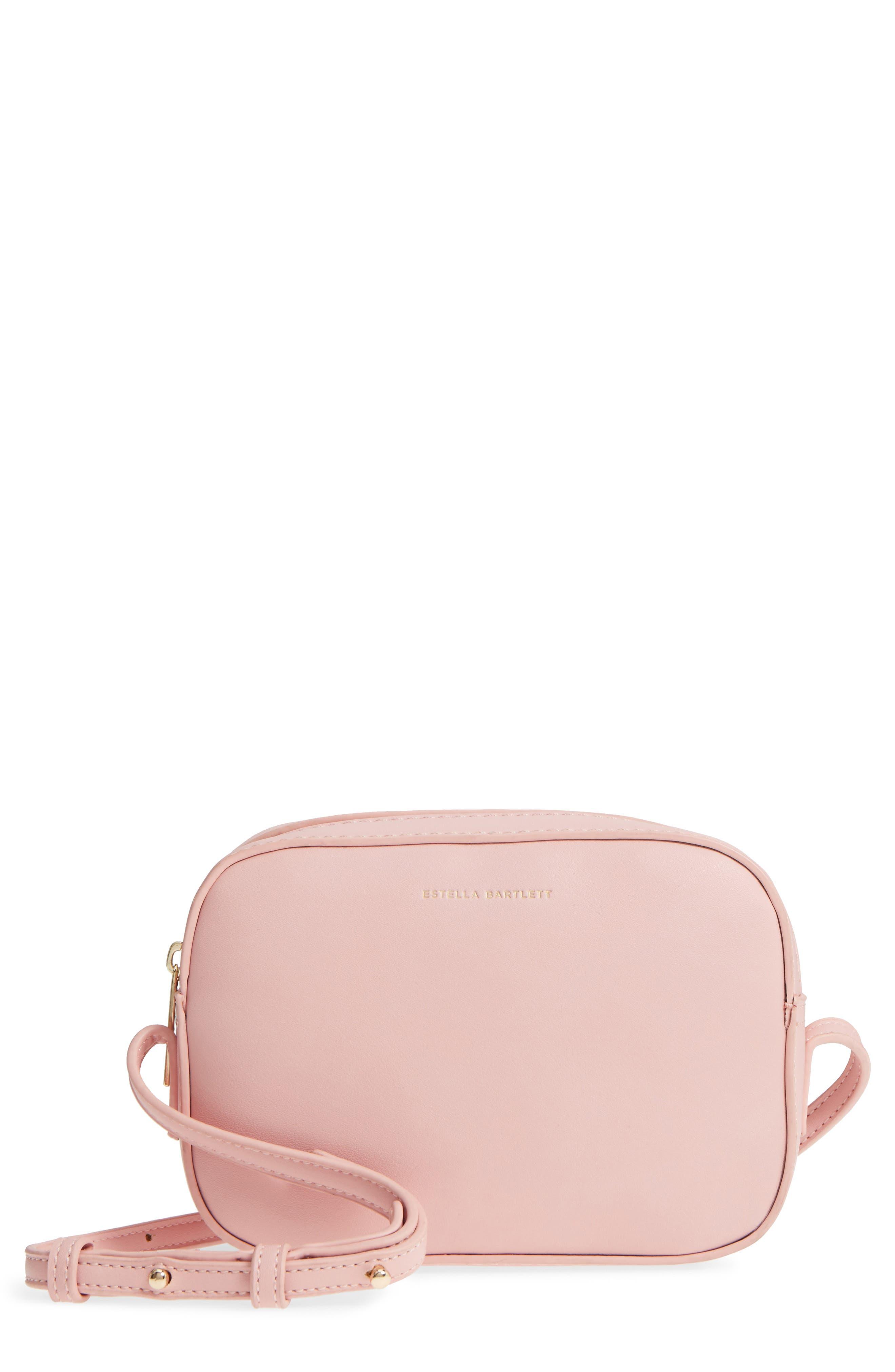 Faux Leather Box Bag,                             Main thumbnail 1, color,                             Pink