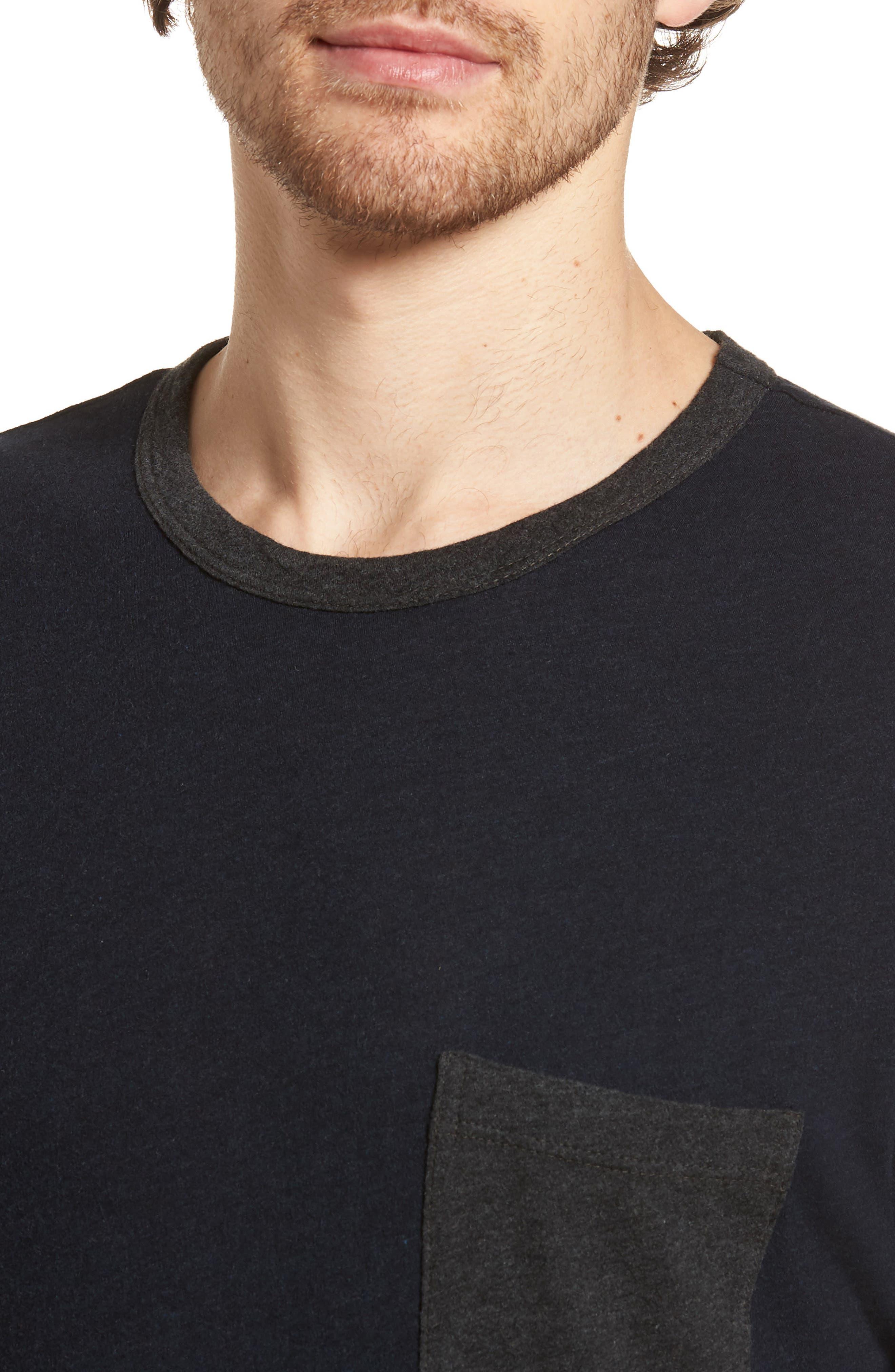 Contrast Pocket Long Sleeve T-Shirt,                             Alternate thumbnail 4, color,                             Deep/ Anthracite