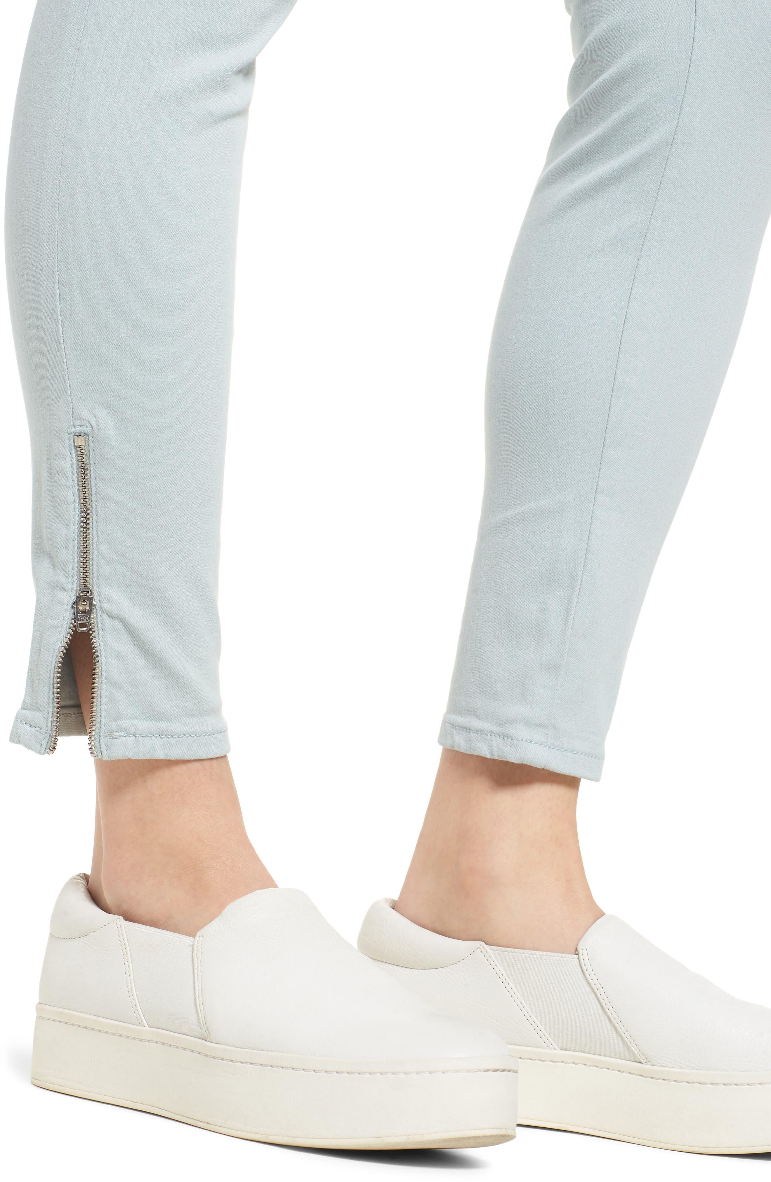 Adriana Zip Ankle Super Skinny Jeans,                             Alternate thumbnail 4, color,                             Zip Slate Twill