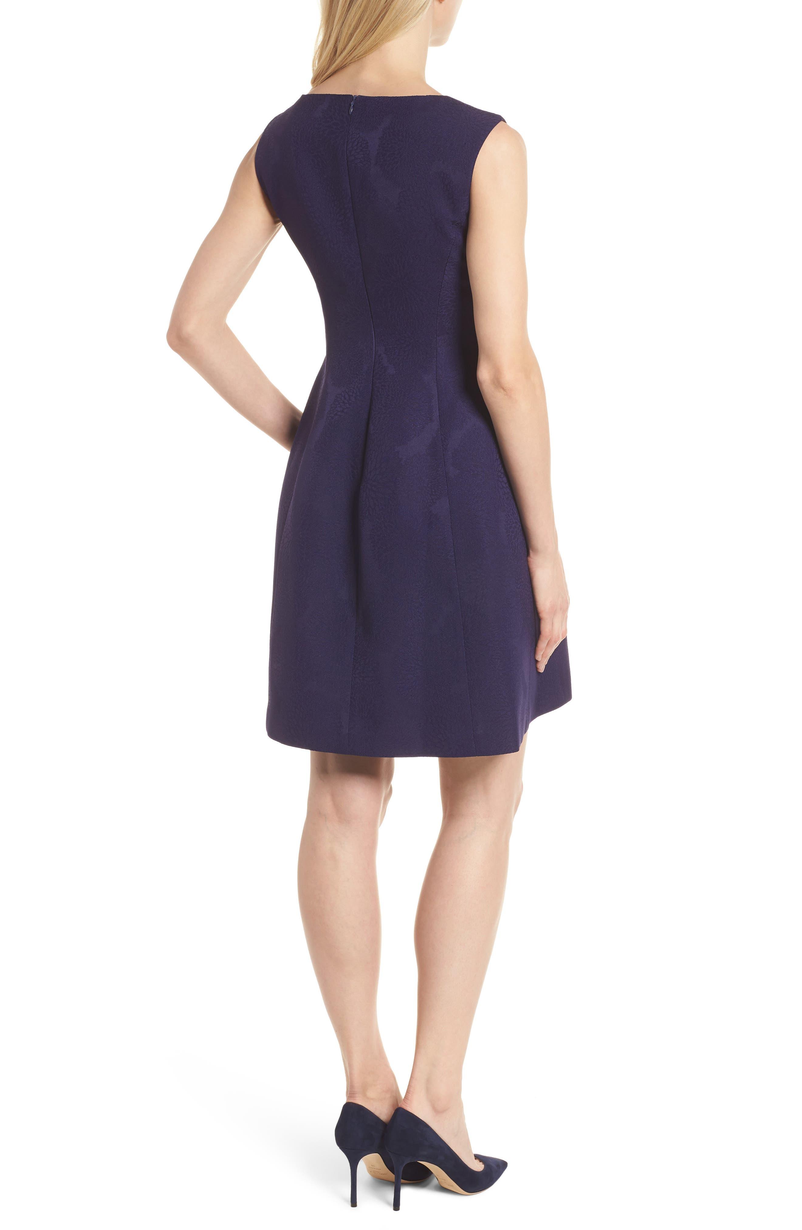 Jacquard Fit & Flare Dress,                             Alternate thumbnail 2, color,                             Monaco