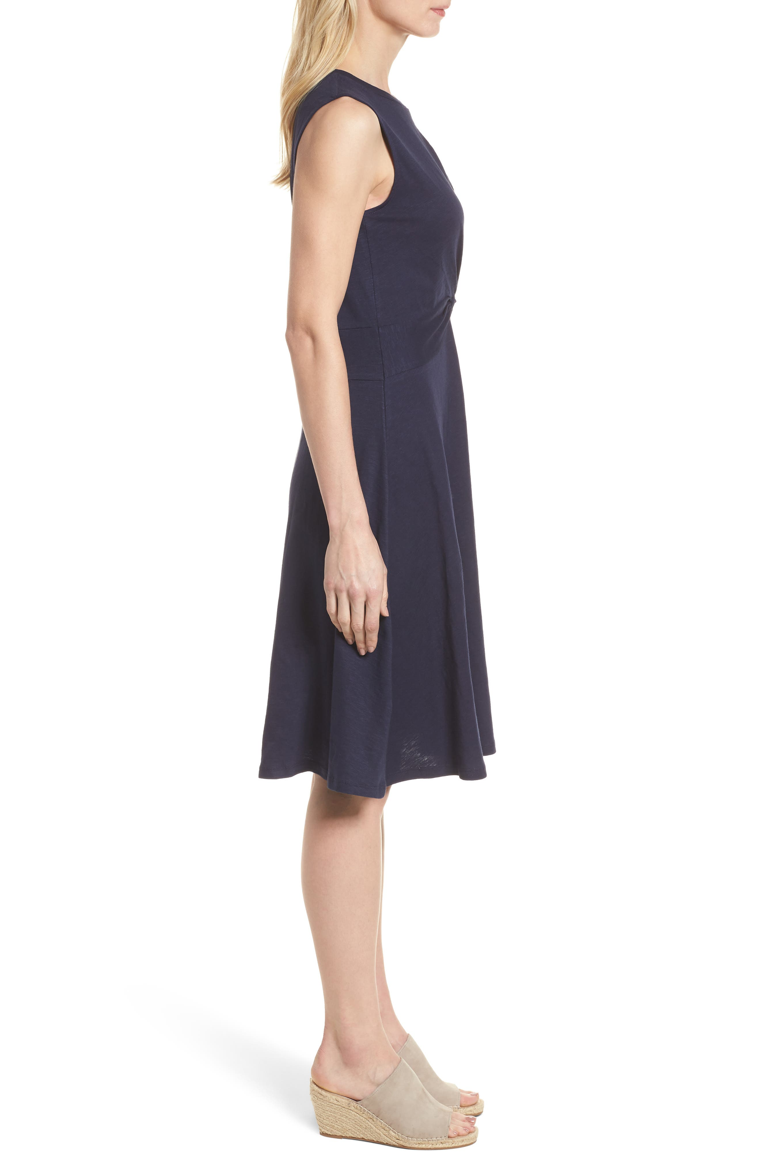 Twist Front Knit Dress,                             Alternate thumbnail 3, color,                             Navy Peacoat