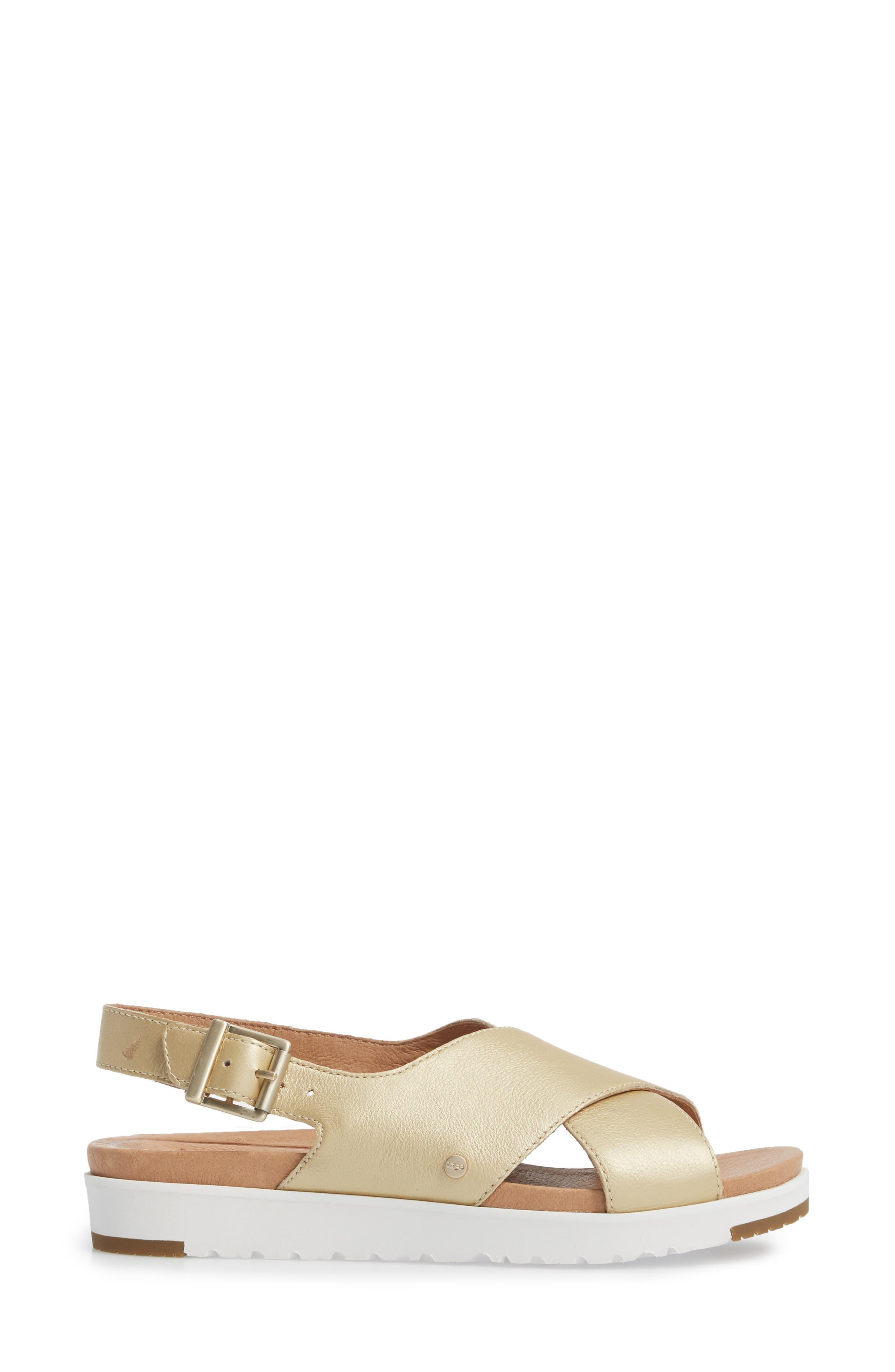 Kamile Slingback Sandal,                             Alternate thumbnail 3, color,                             Gold Leather