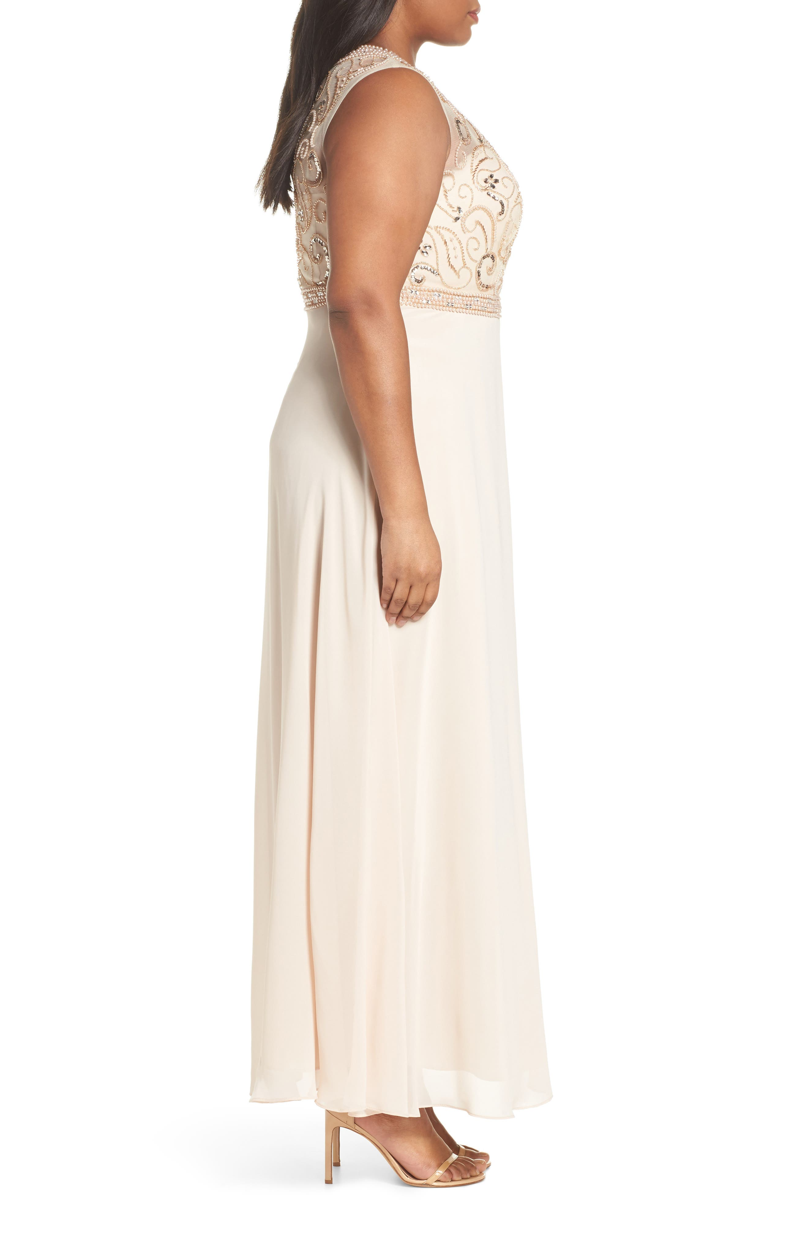 Sleeveless Beaded Gown,                             Alternate thumbnail 3, color,                             Champagne