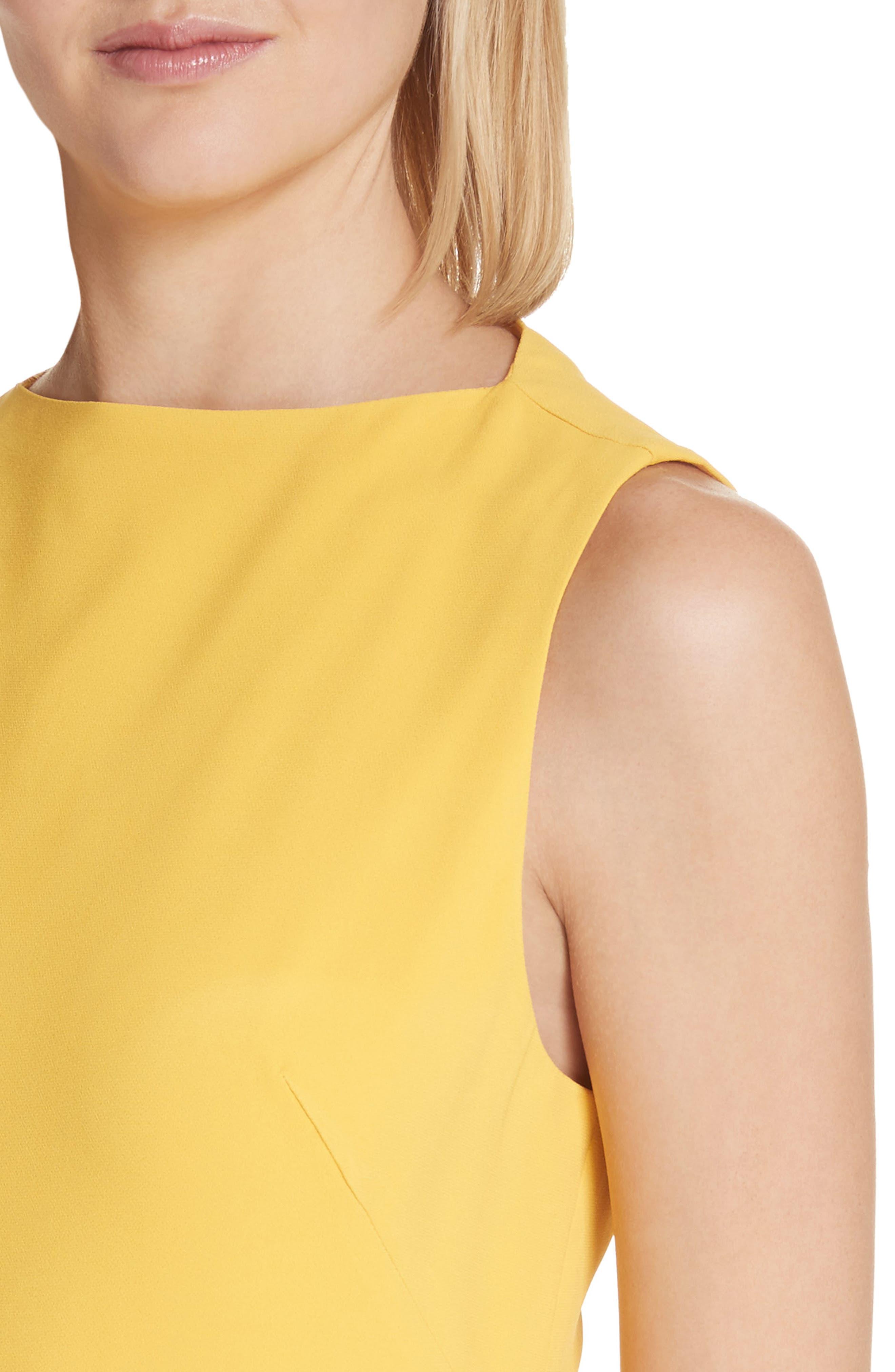 Sheath Midi Dress,                             Alternate thumbnail 4, color,                             Yellow
