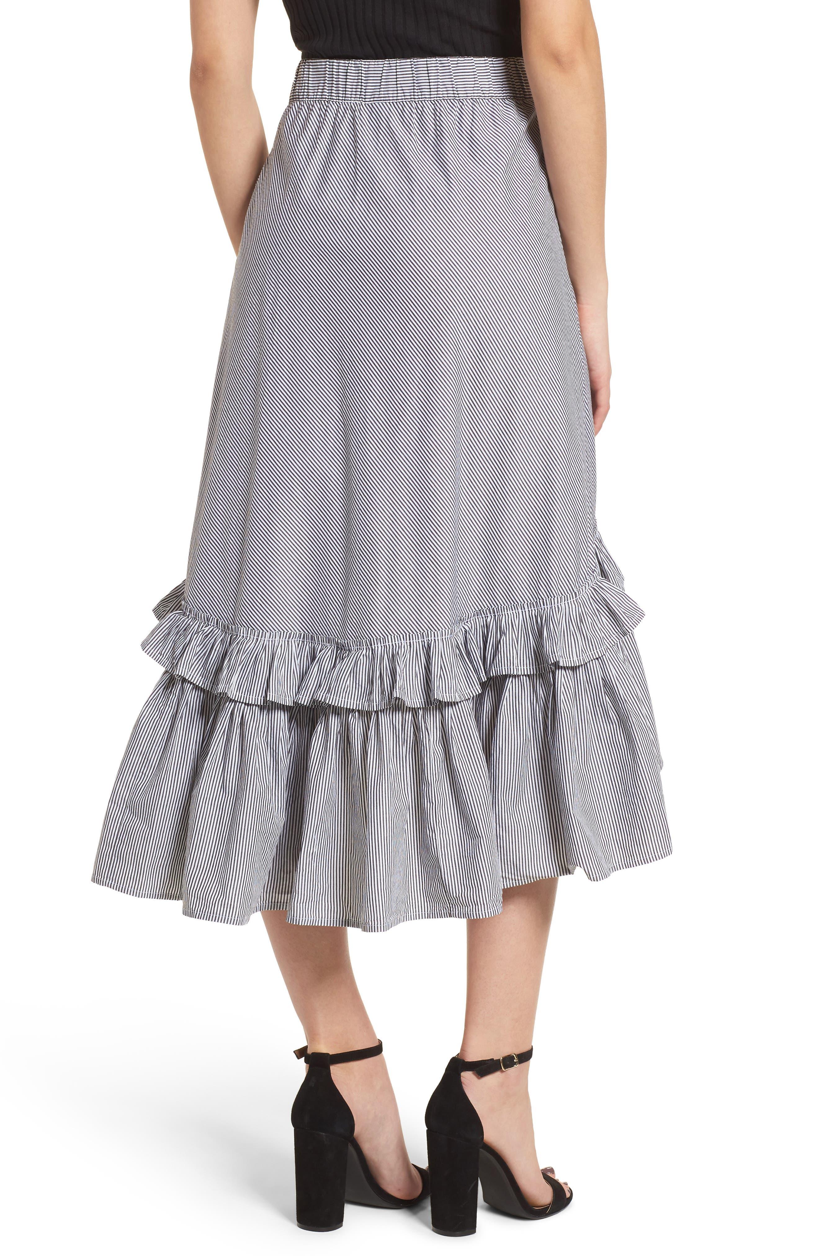 Flounce Ruffle Trim Skirt,                             Alternate thumbnail 3, color,                             Black Jenny Stripe