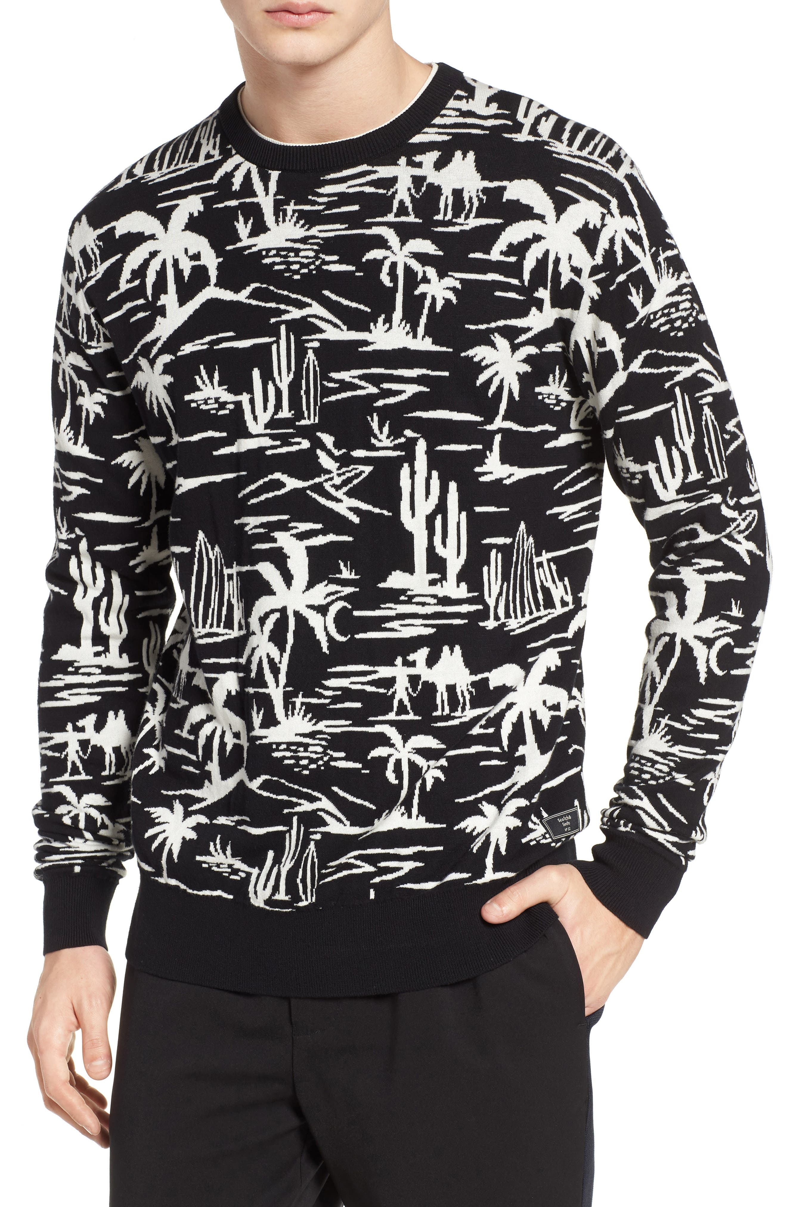 Jacquard Pattern Sweatshirt,                         Main,                         color, Combo A