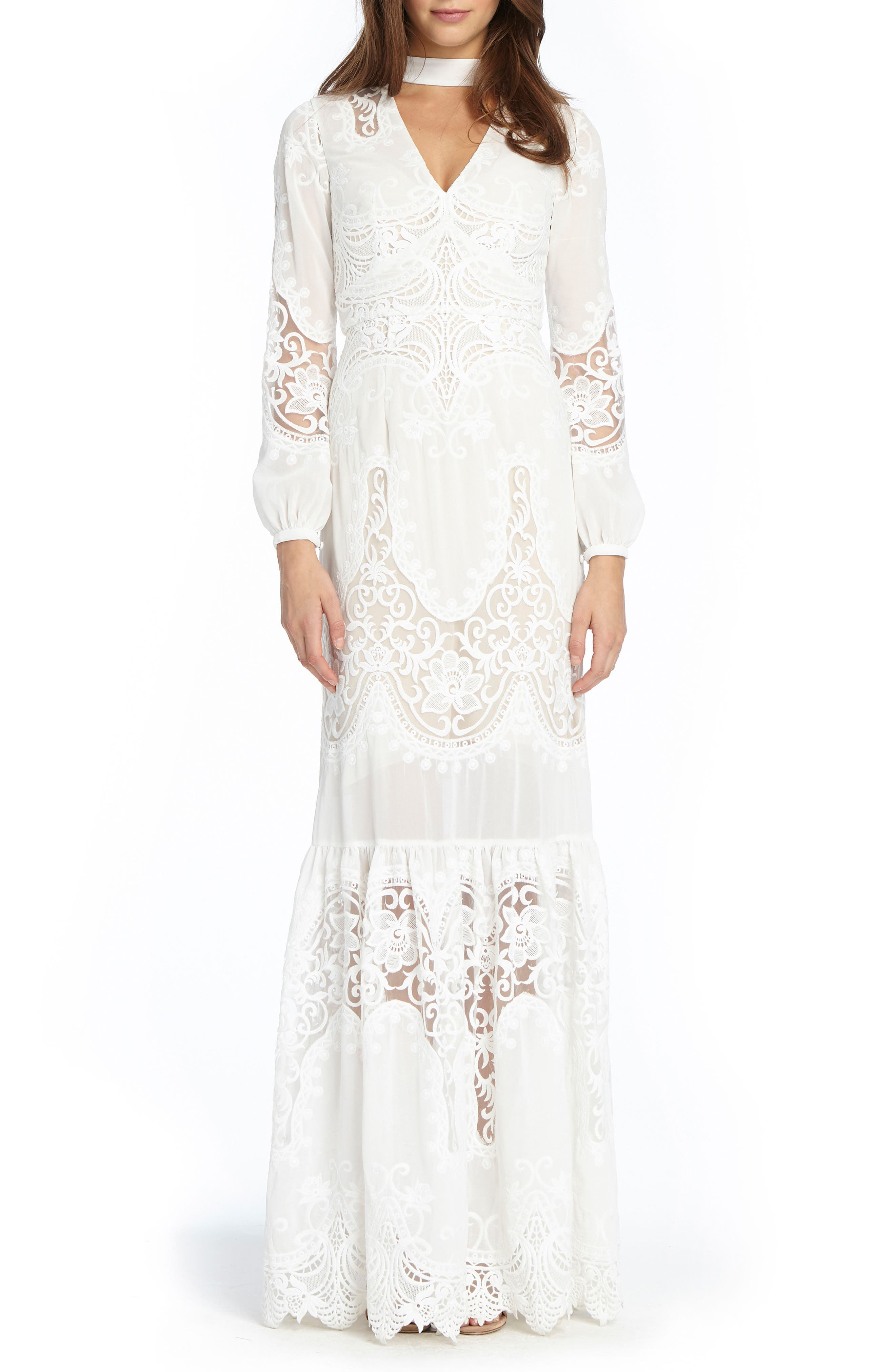 Embroidered Choker Gown,                         Main,                         color, White