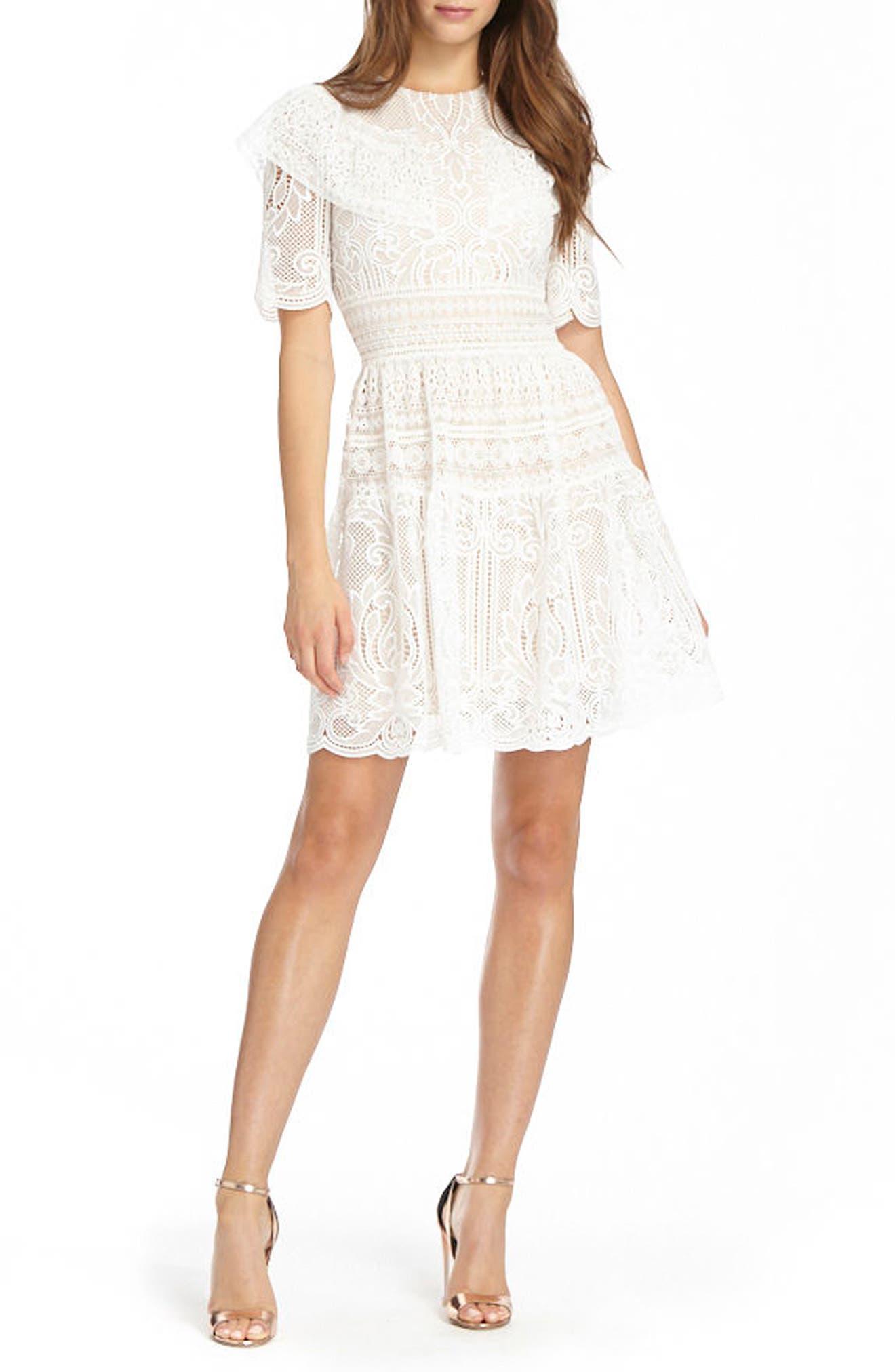 Lace Skater Dress,                             Main thumbnail 1, color,                             White