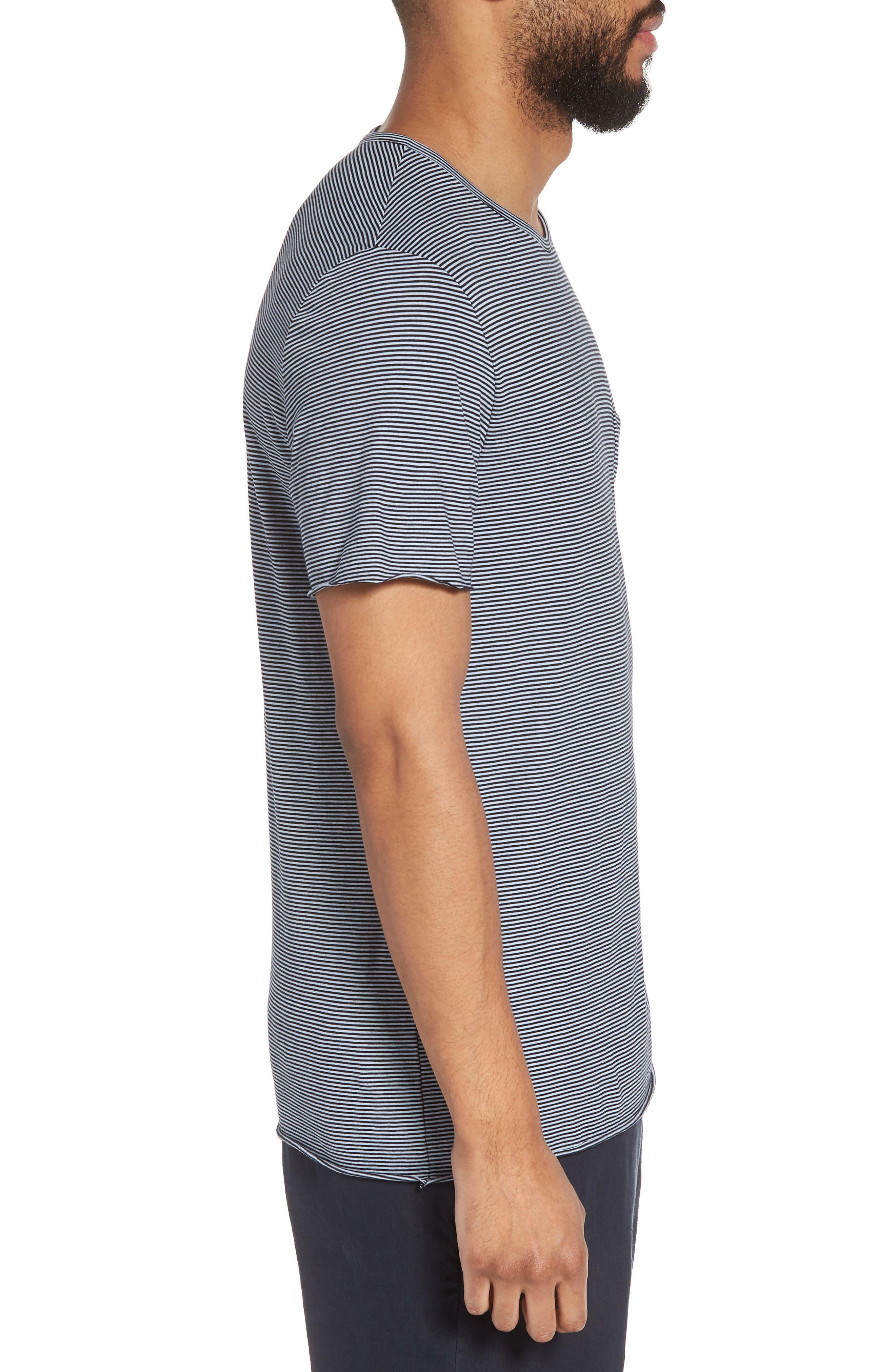 Slim Fit Stripe Pocket T-Shirt,                             Alternate thumbnail 5, color,                             New Coastal/ Feather
