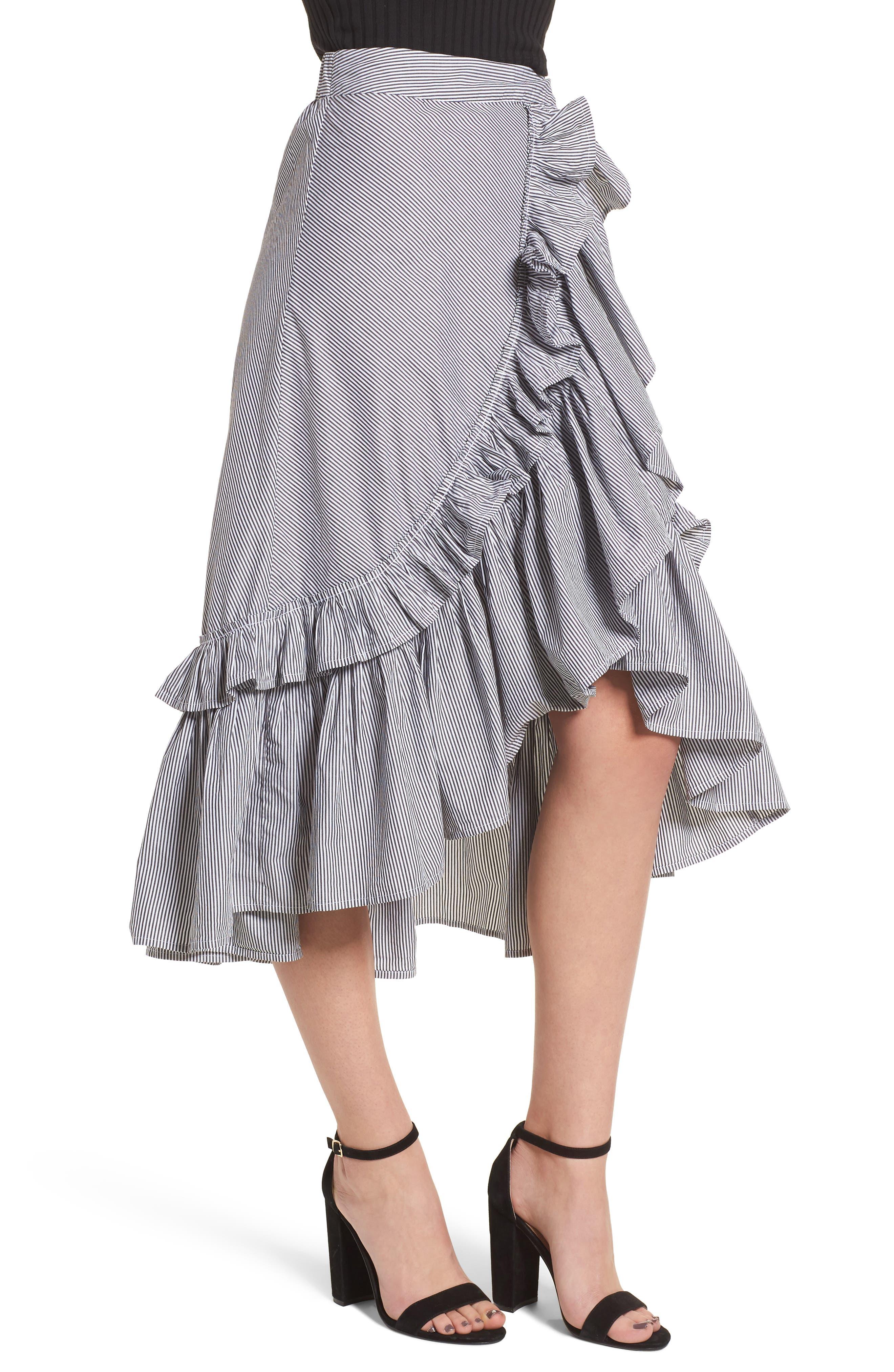 Flounce Ruffle Trim Skirt,                             Alternate thumbnail 4, color,                             Black Jenny Stripe