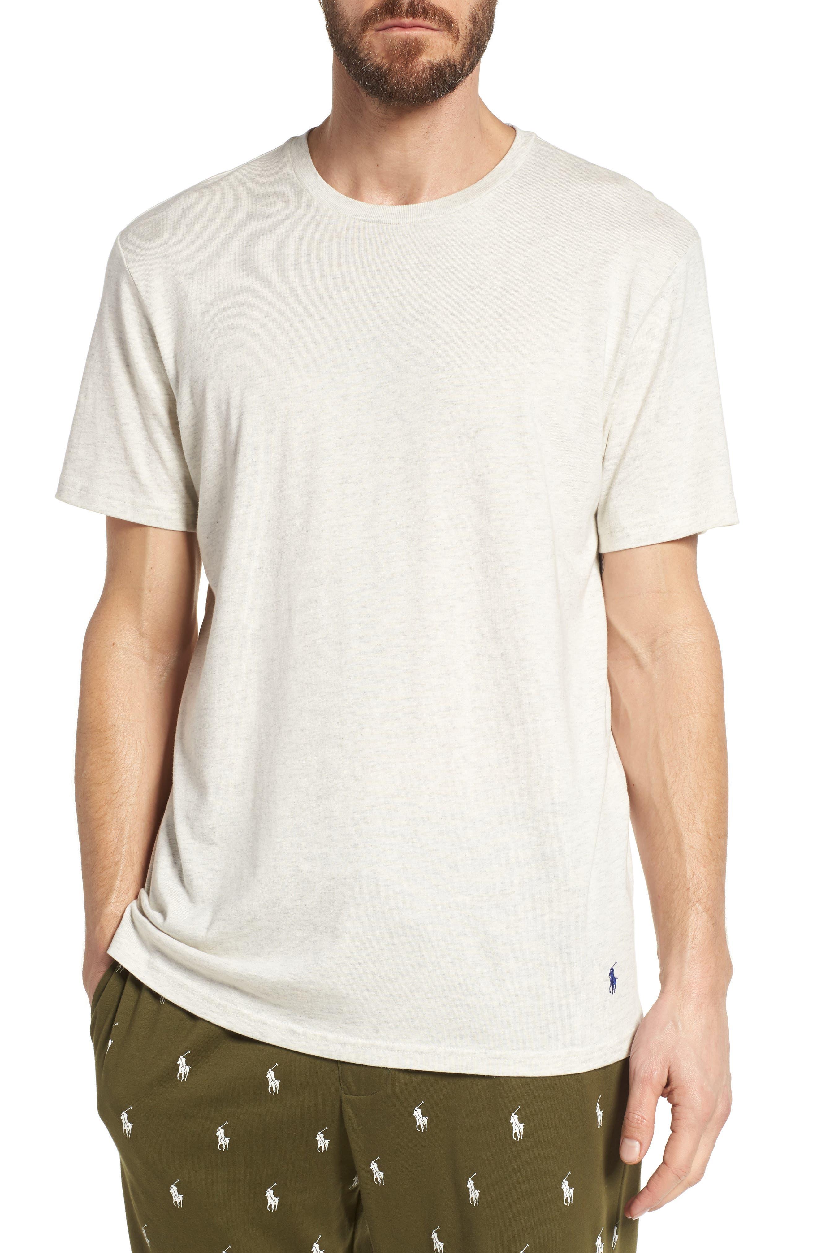 Supreme Comfort Crewneck T-Shirt,                             Main thumbnail 1, color,                             Sand Heather/ Bright Navy
