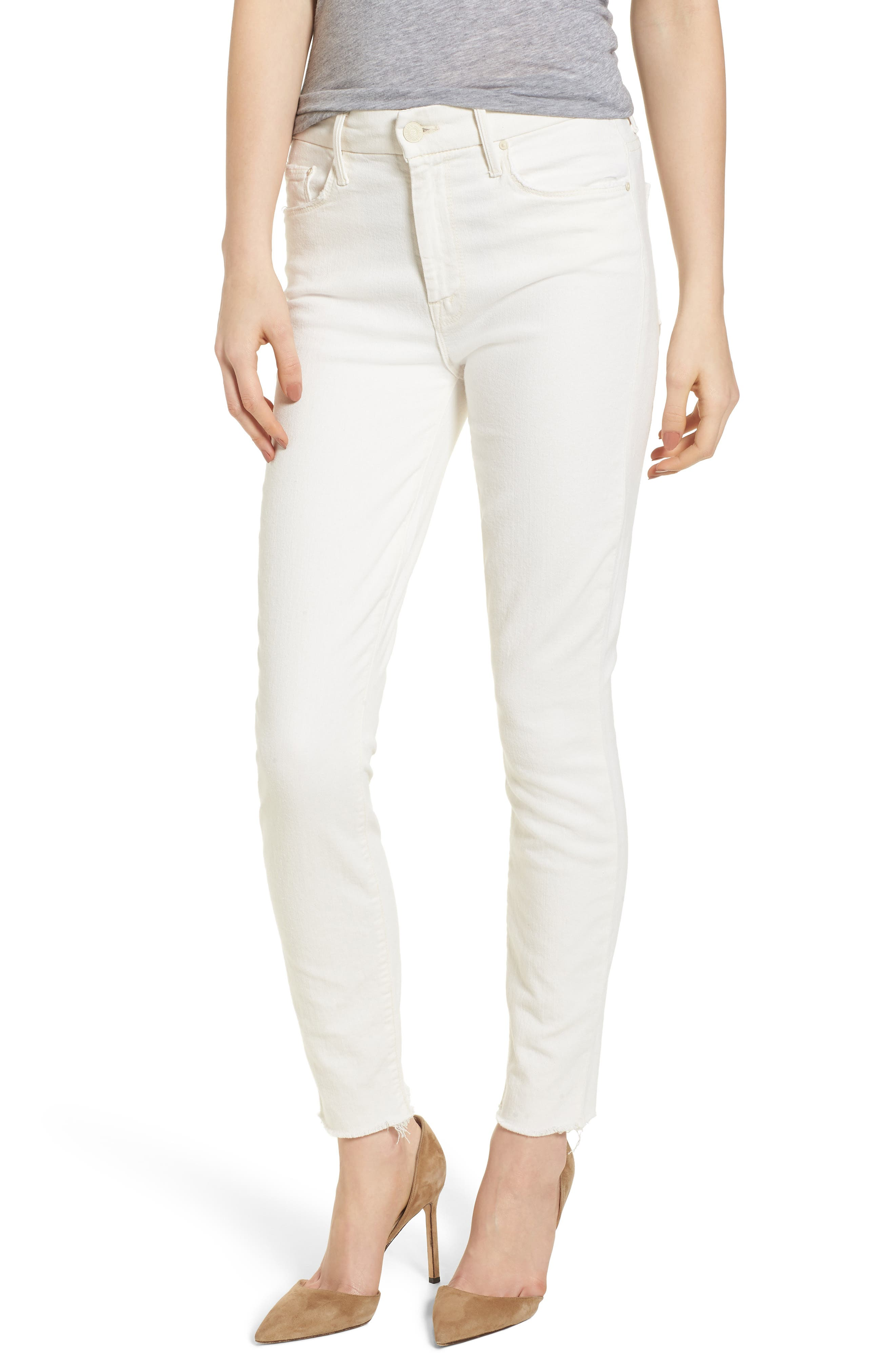 The Looker High Waist Fray Ankle Skinny Jeans,                             Main thumbnail 1, color,                             Whipping The Cream