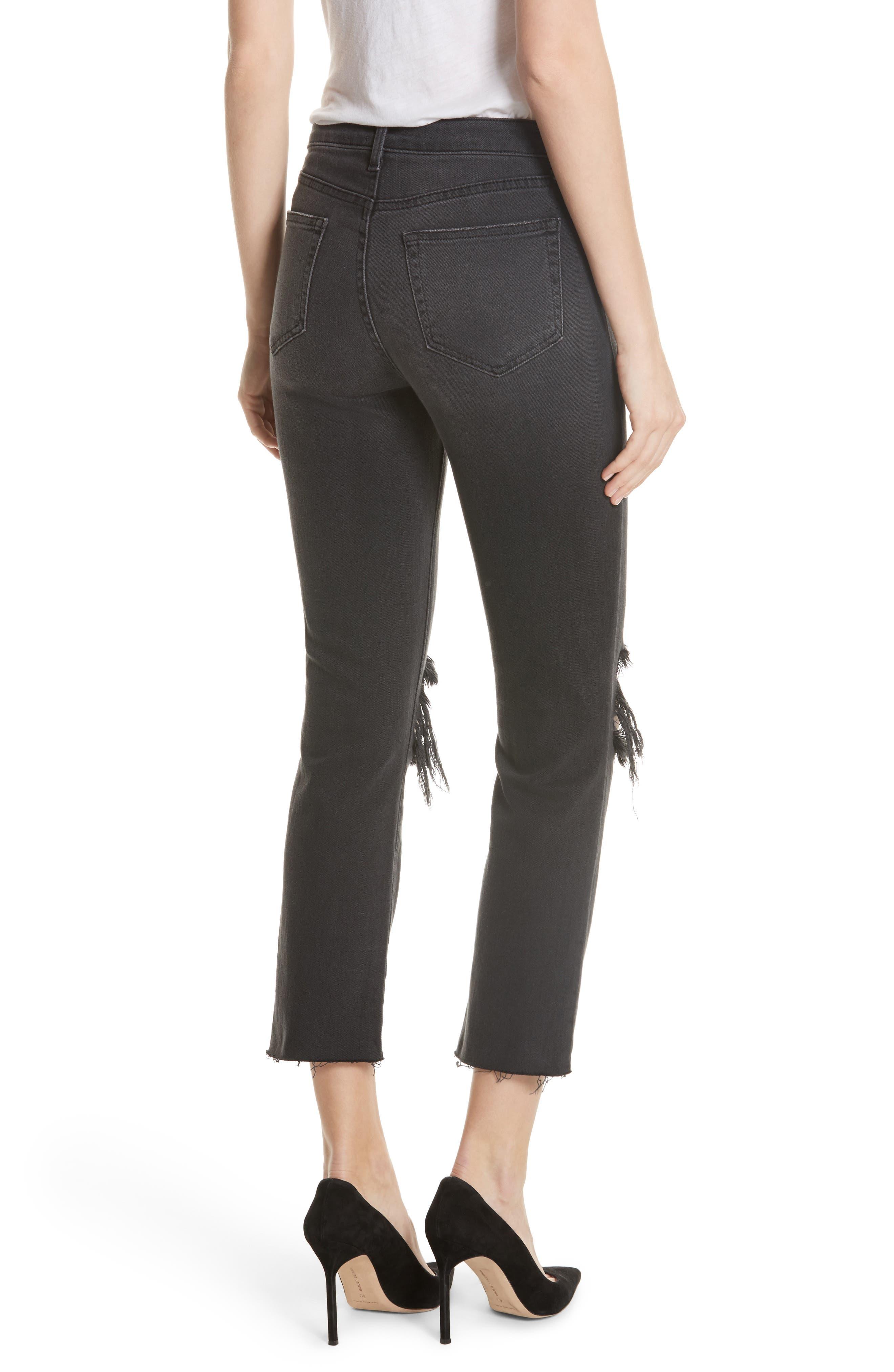 Audrina Ripped Straight Leg Jeans,                             Alternate thumbnail 2, color,                             Vintage Black Worn Destruct
