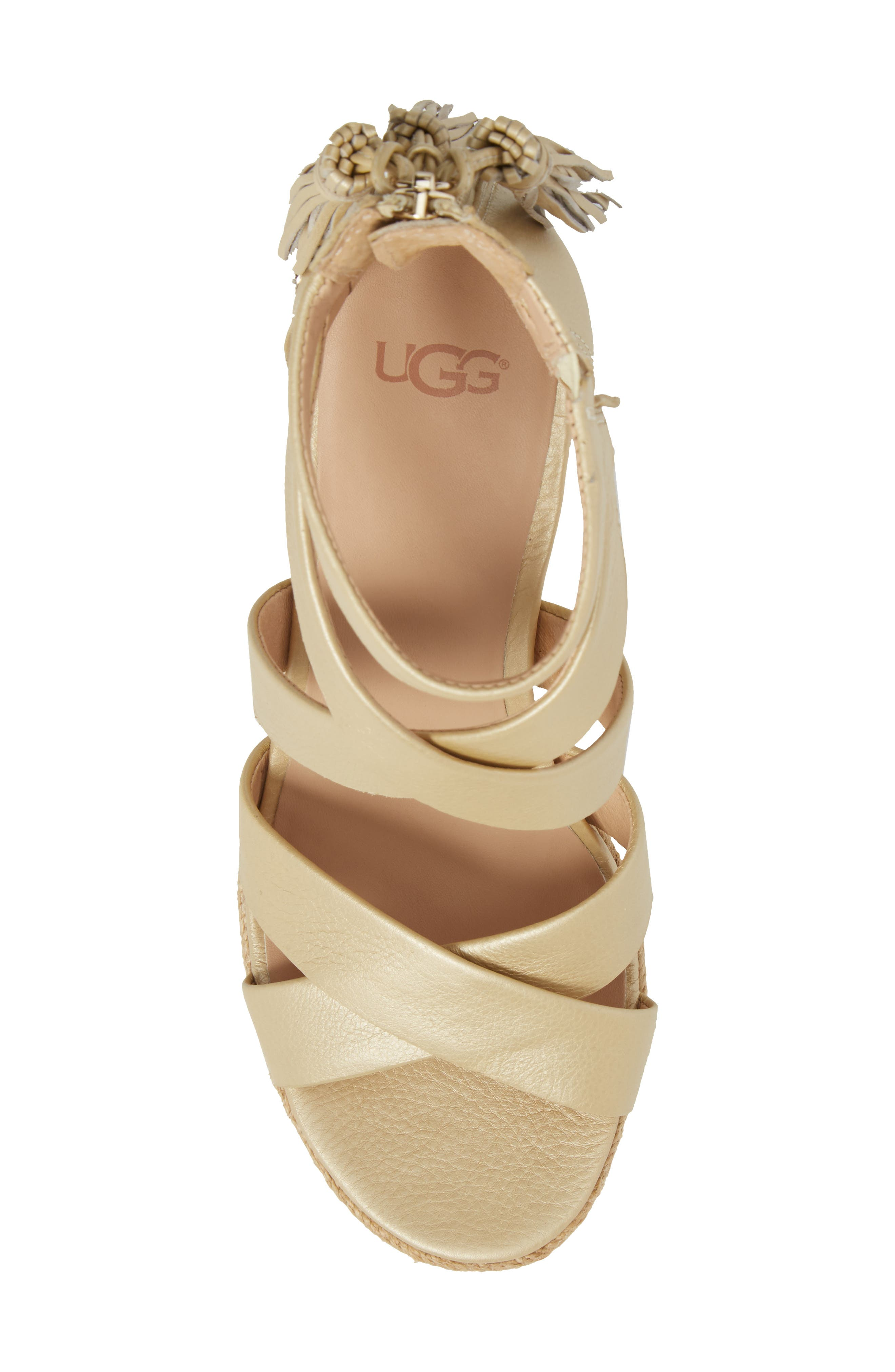 Raquel Platform Wedge Sandal,                             Alternate thumbnail 5, color,                             Soft Gold Leather