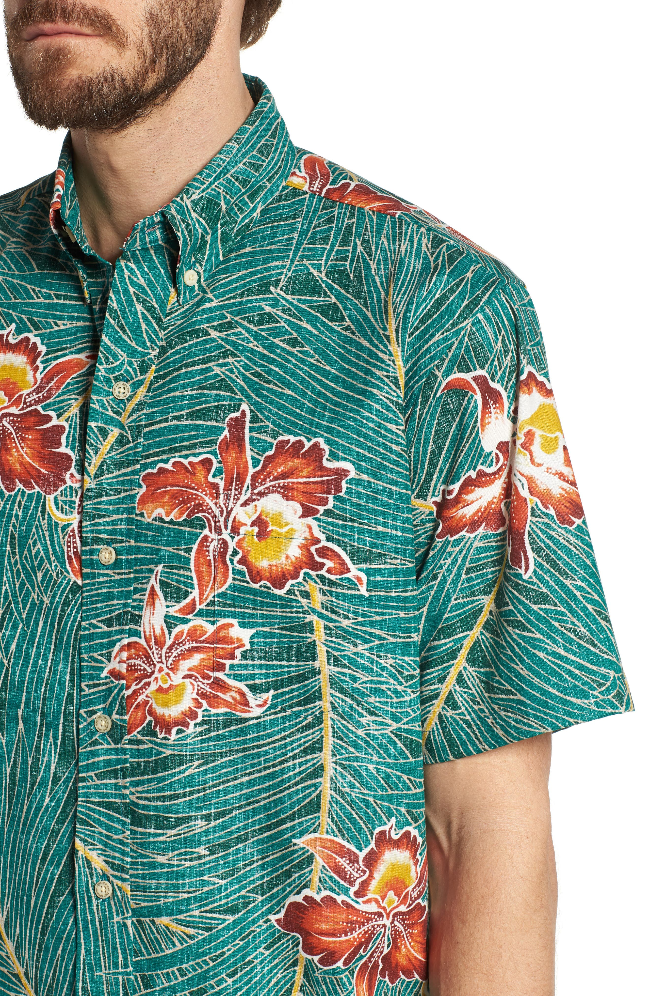 Okika Oasis Traditional Fit Sport Shirt,                             Alternate thumbnail 4, color,                             Emerald