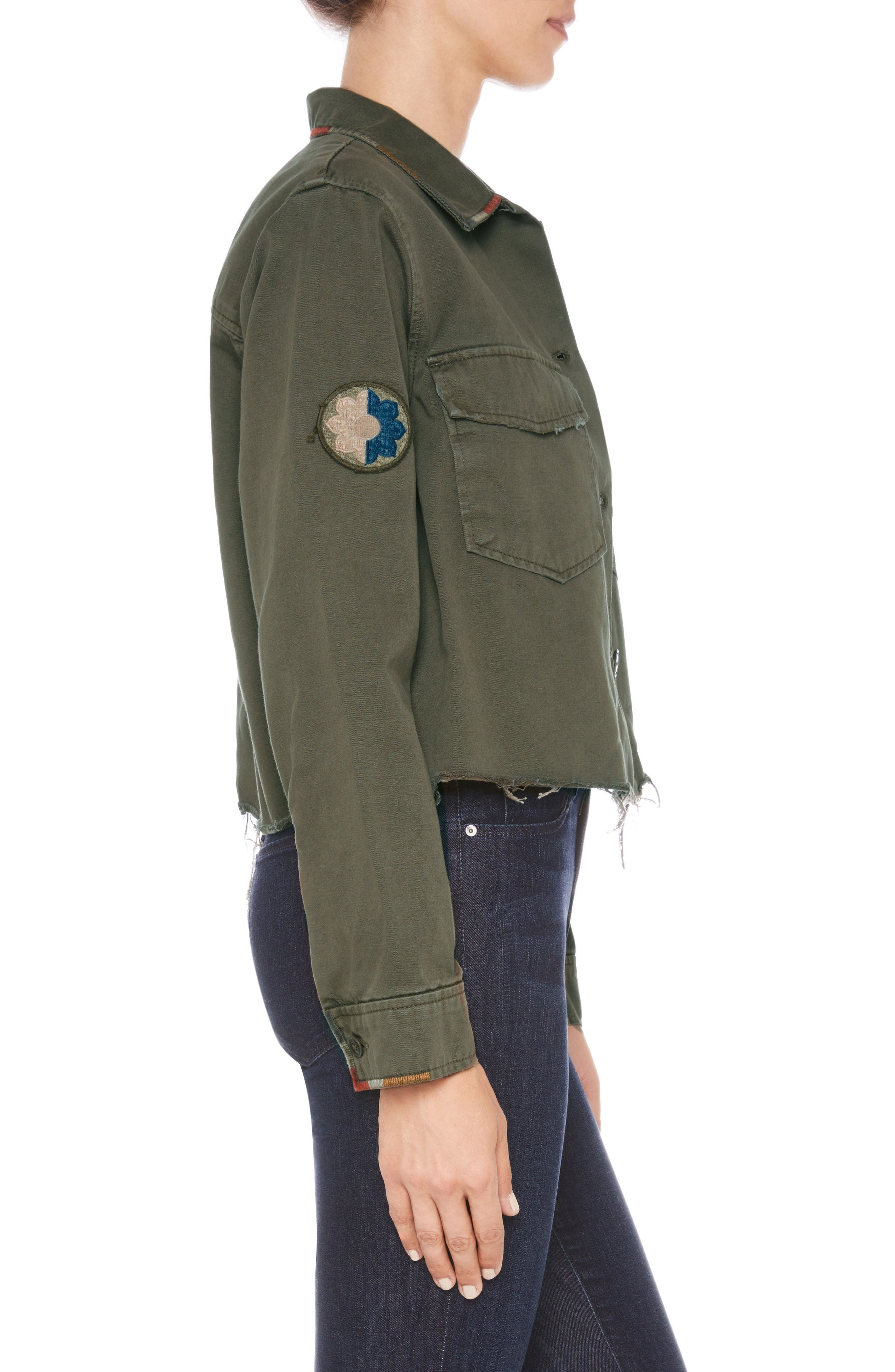 Marie Military Shirt Jacket,                             Alternate thumbnail 3, color,                             Earth Army