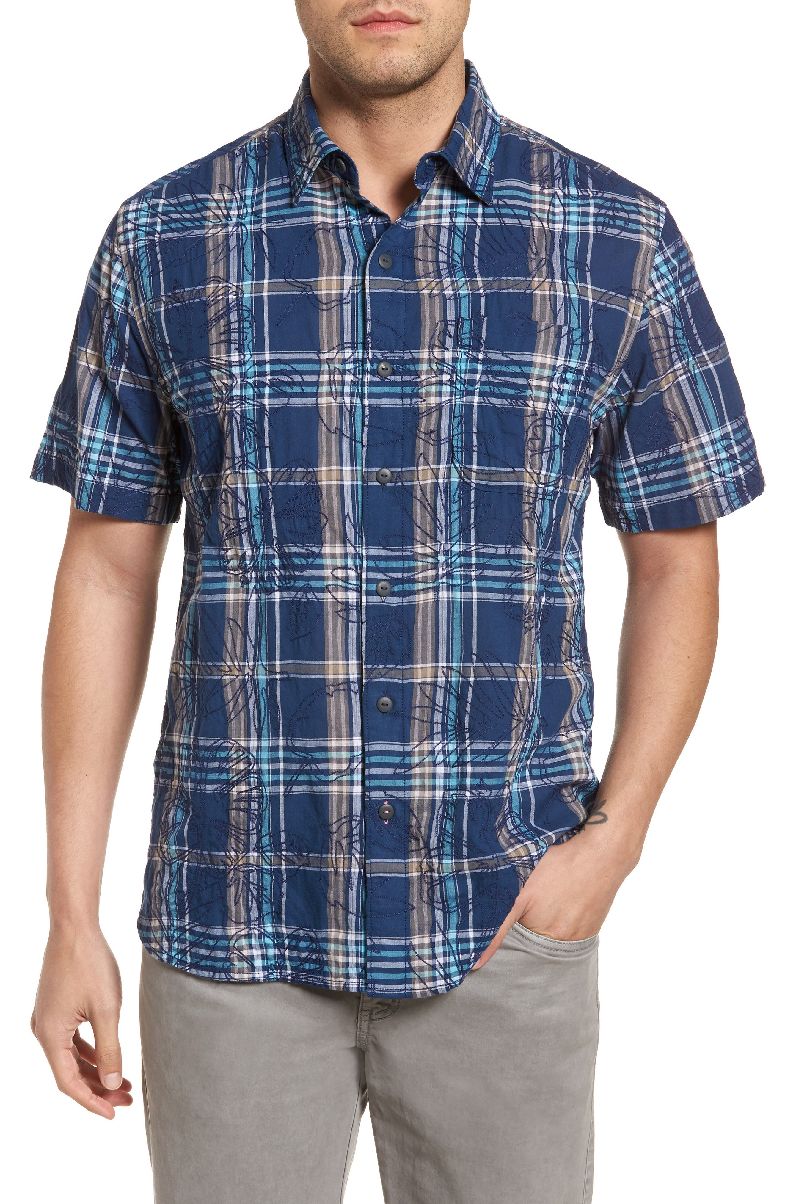 Palazzo Regular Fit Plaid Sport Shirt,                         Main,                         color, Dockside Blue