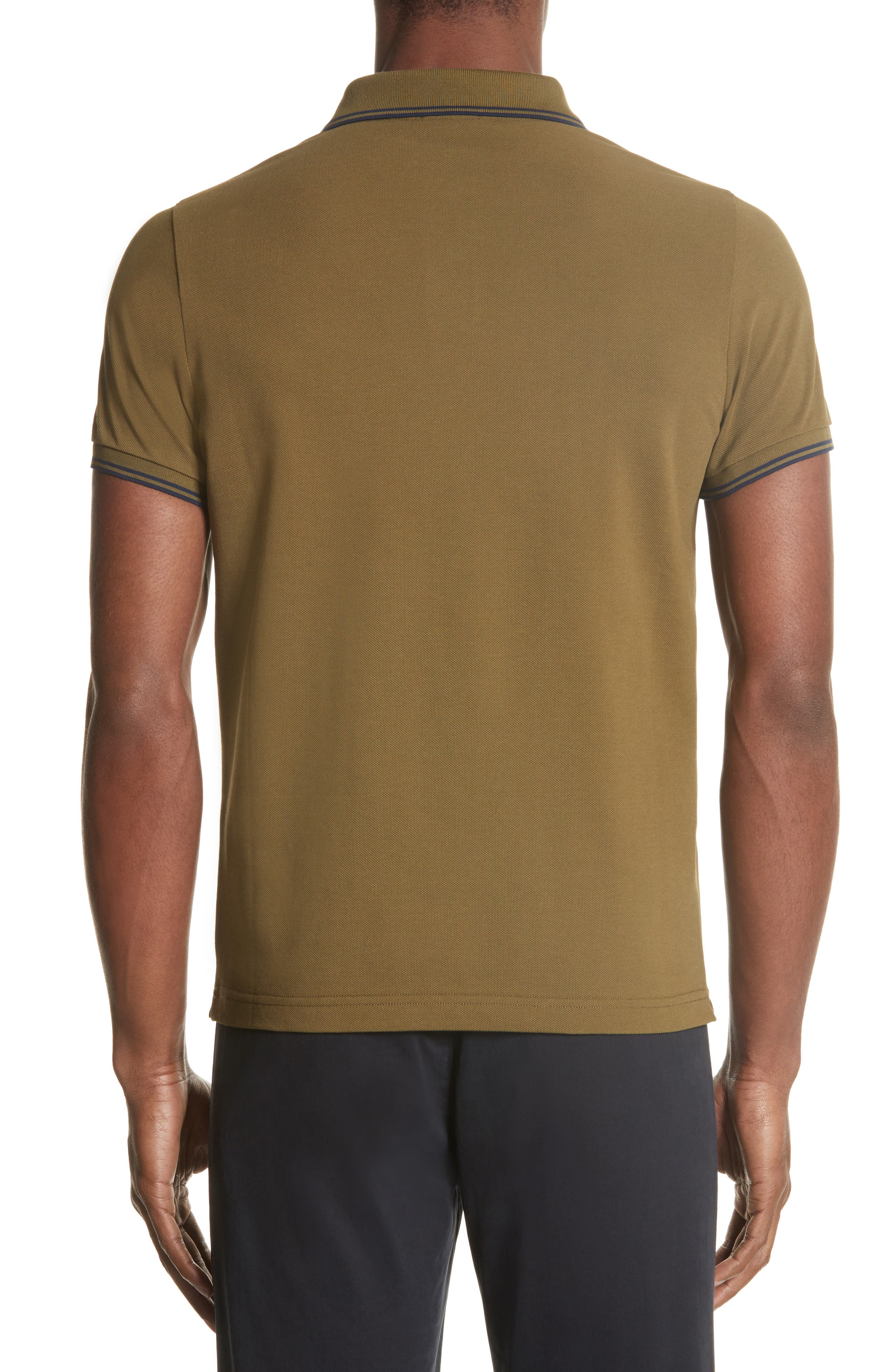 Striped Collar Polo Shirt,                             Alternate thumbnail 2, color,                             Olive