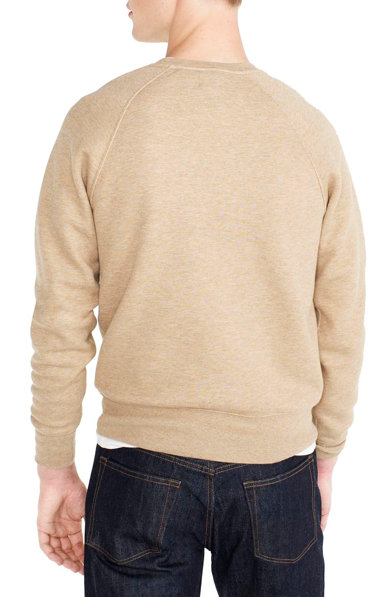 Textured Piqué Fleece Sweatshirt,                             Alternate thumbnail 2, color,                             Heather Nut