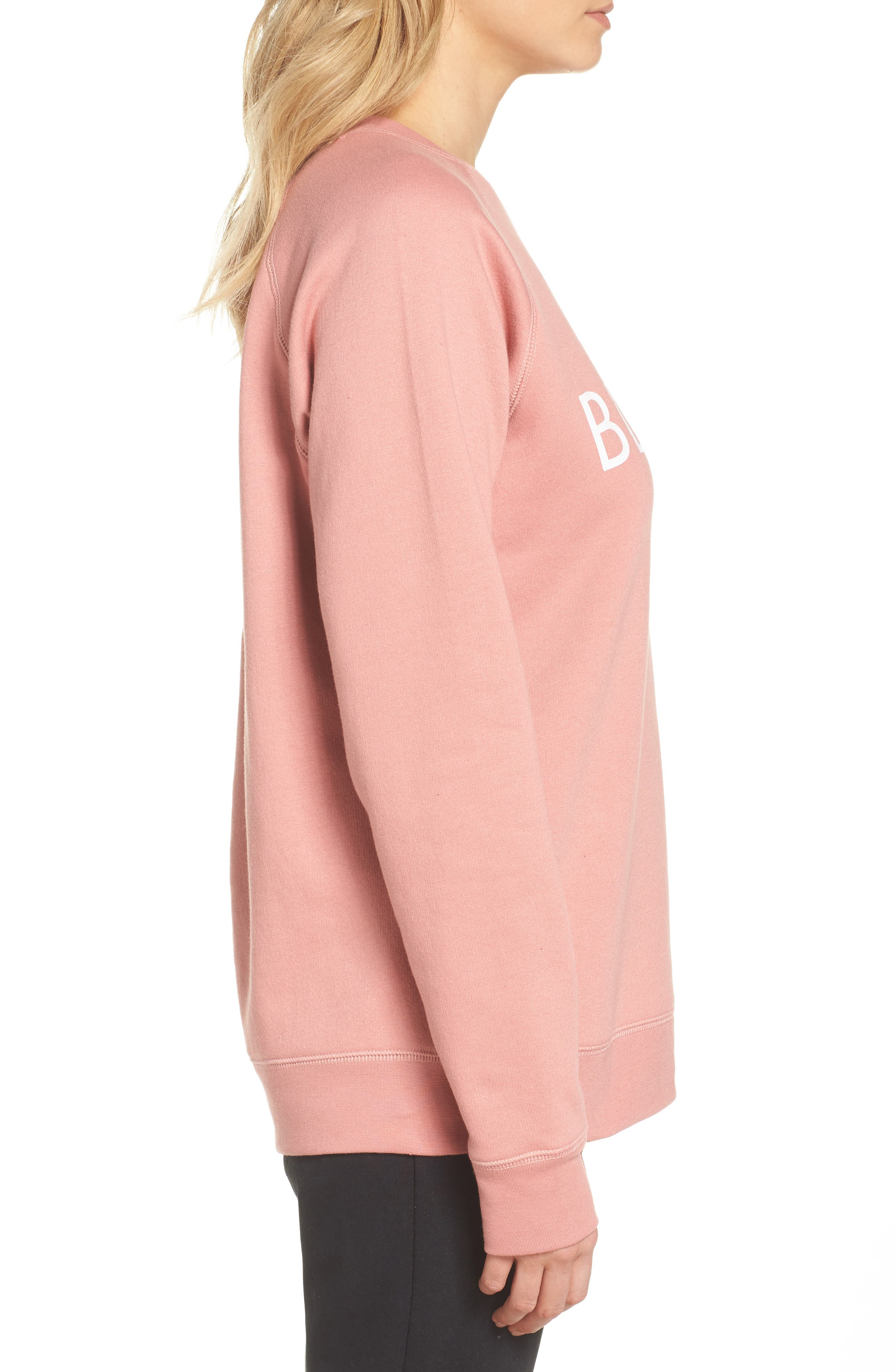 Blonde Crewneck Sweatshirt,                             Alternate thumbnail 3, color,                             Dusty Rose