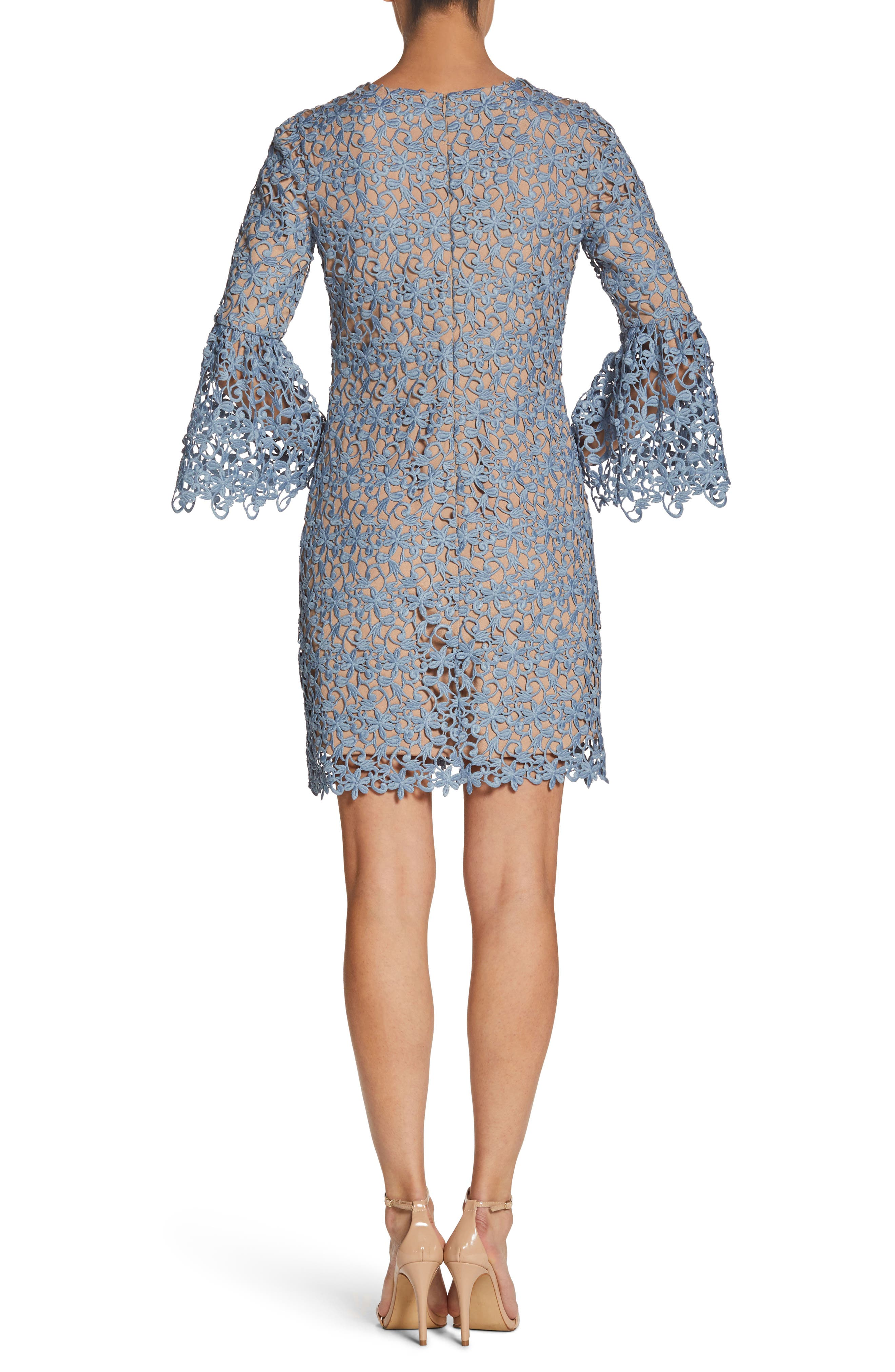 Paige Crochet Shift Dress,                             Alternate thumbnail 3, color,                             Mineral Blue/ Nude