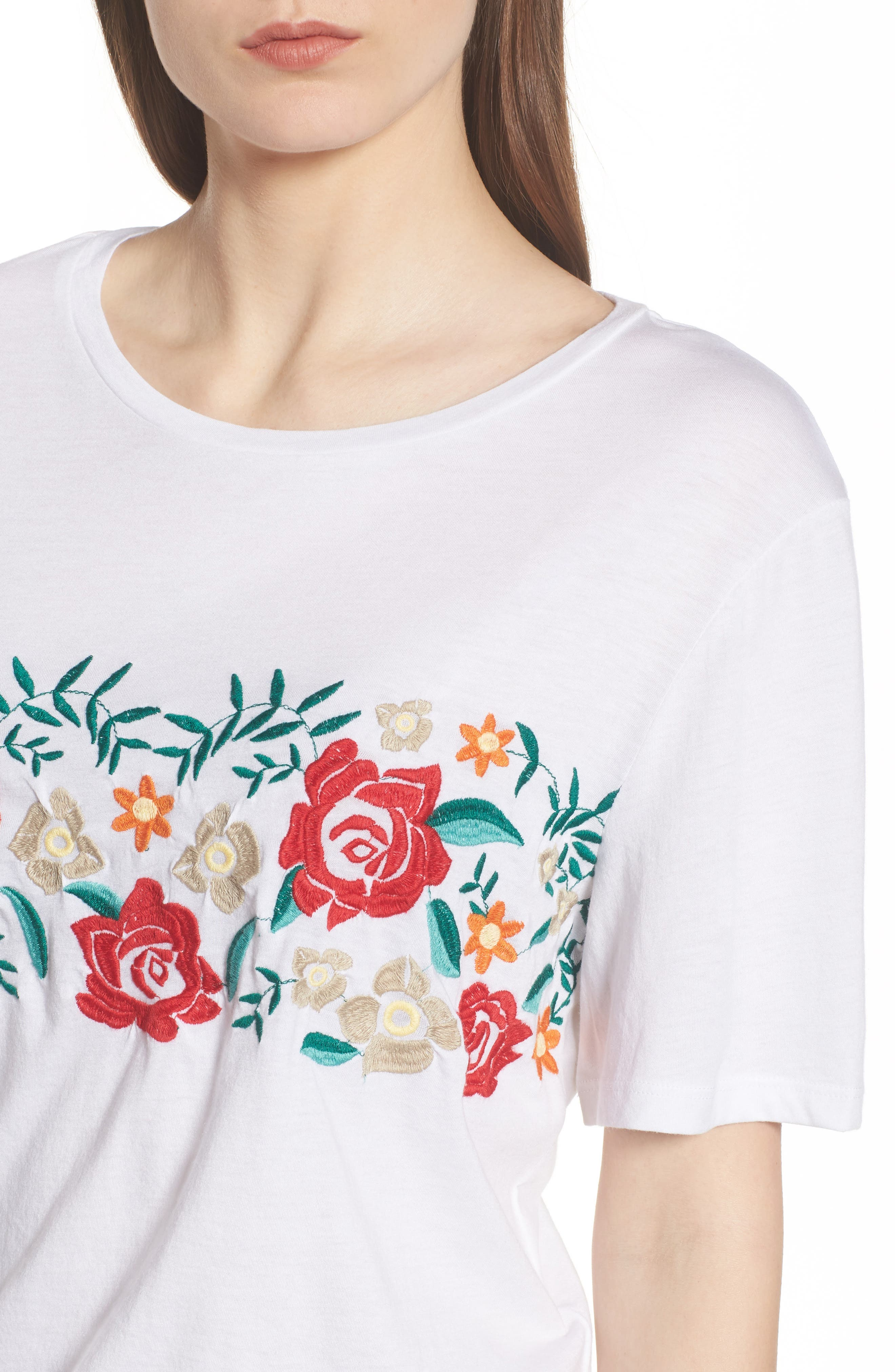 Floral Embroidered Tee,                             Alternate thumbnail 4, color,                             White