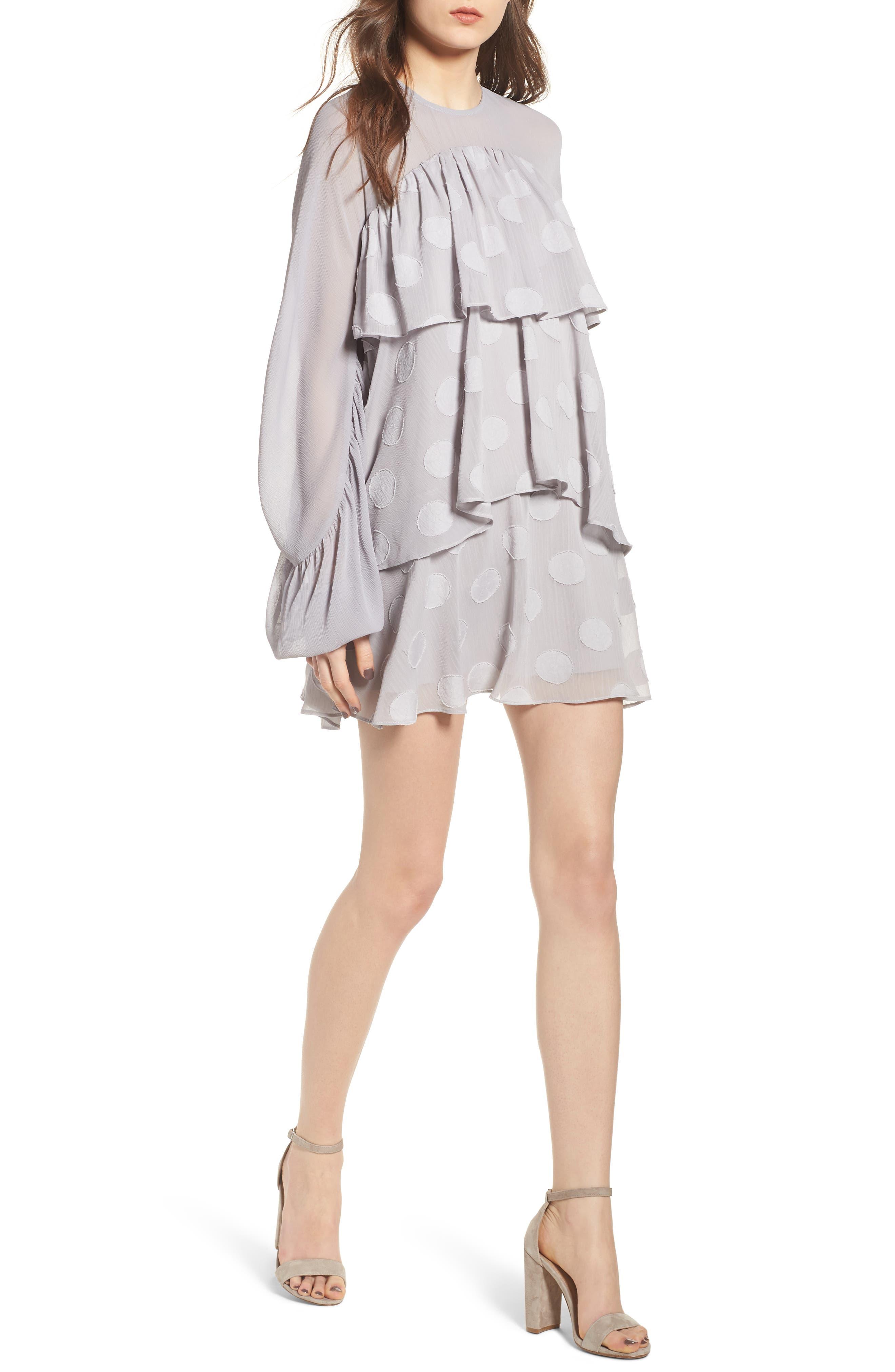 Tiered Minidress,                         Main,                         color, Light Grey