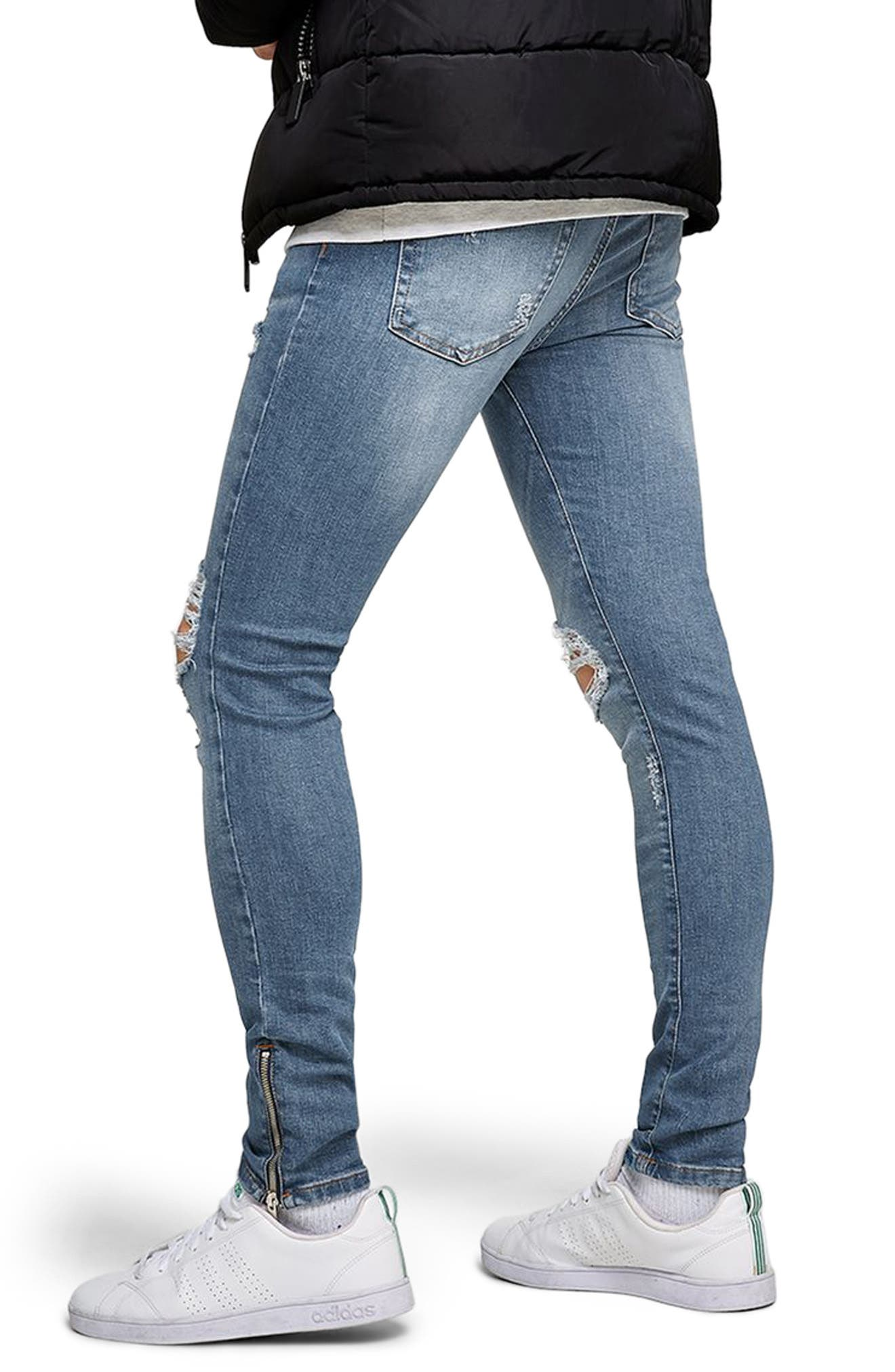 Ripped Spray-On Skinny Fit Jeans,                             Alternate thumbnail 2, color,                             Blue