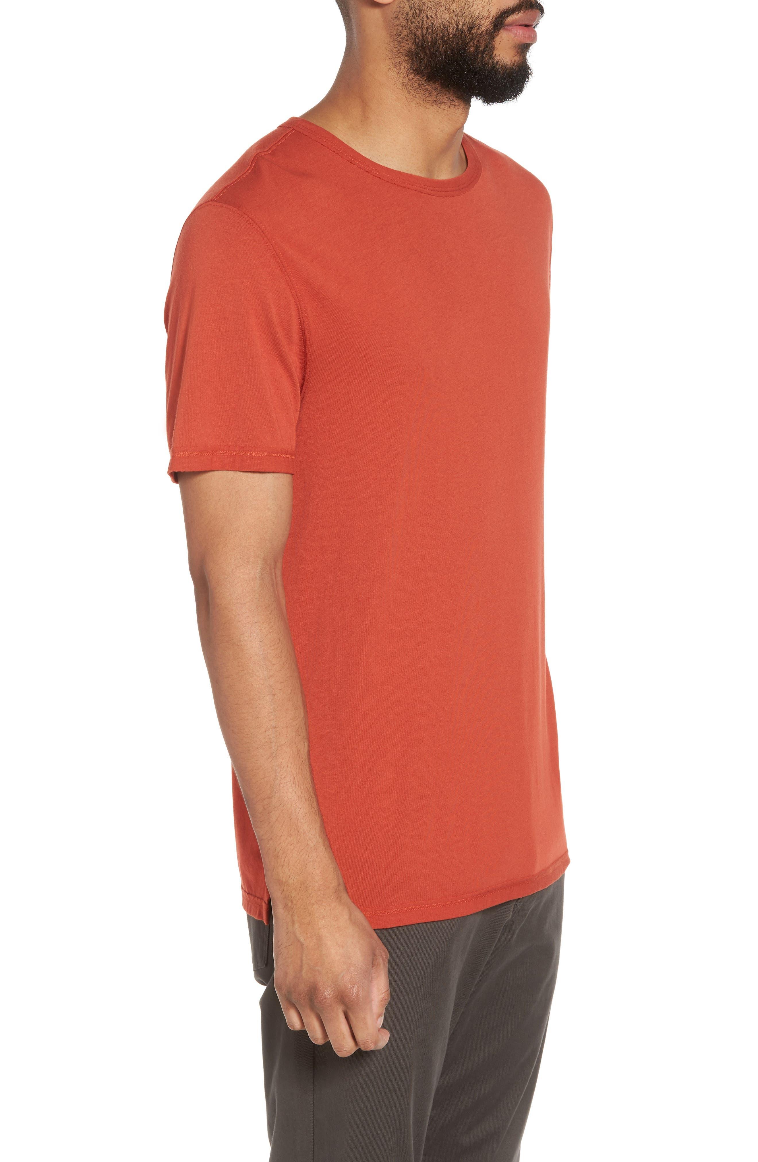 Reverse Hem Slim Fit T-Shirt,                             Alternate thumbnail 3, color,                             Ginger