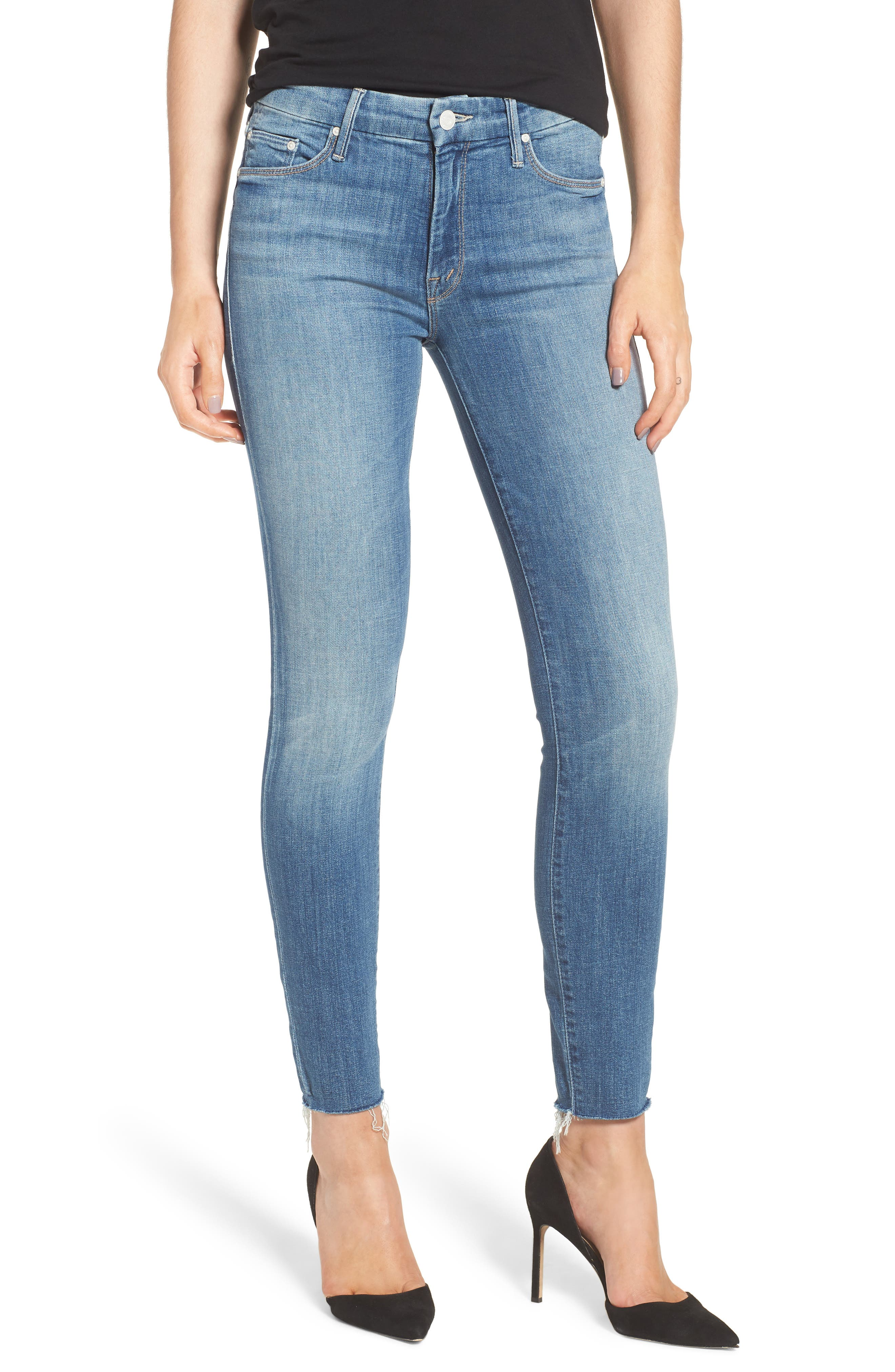 MOTHER The Looker Fray Ankle Skinny Jeans (One Smart Cookie)