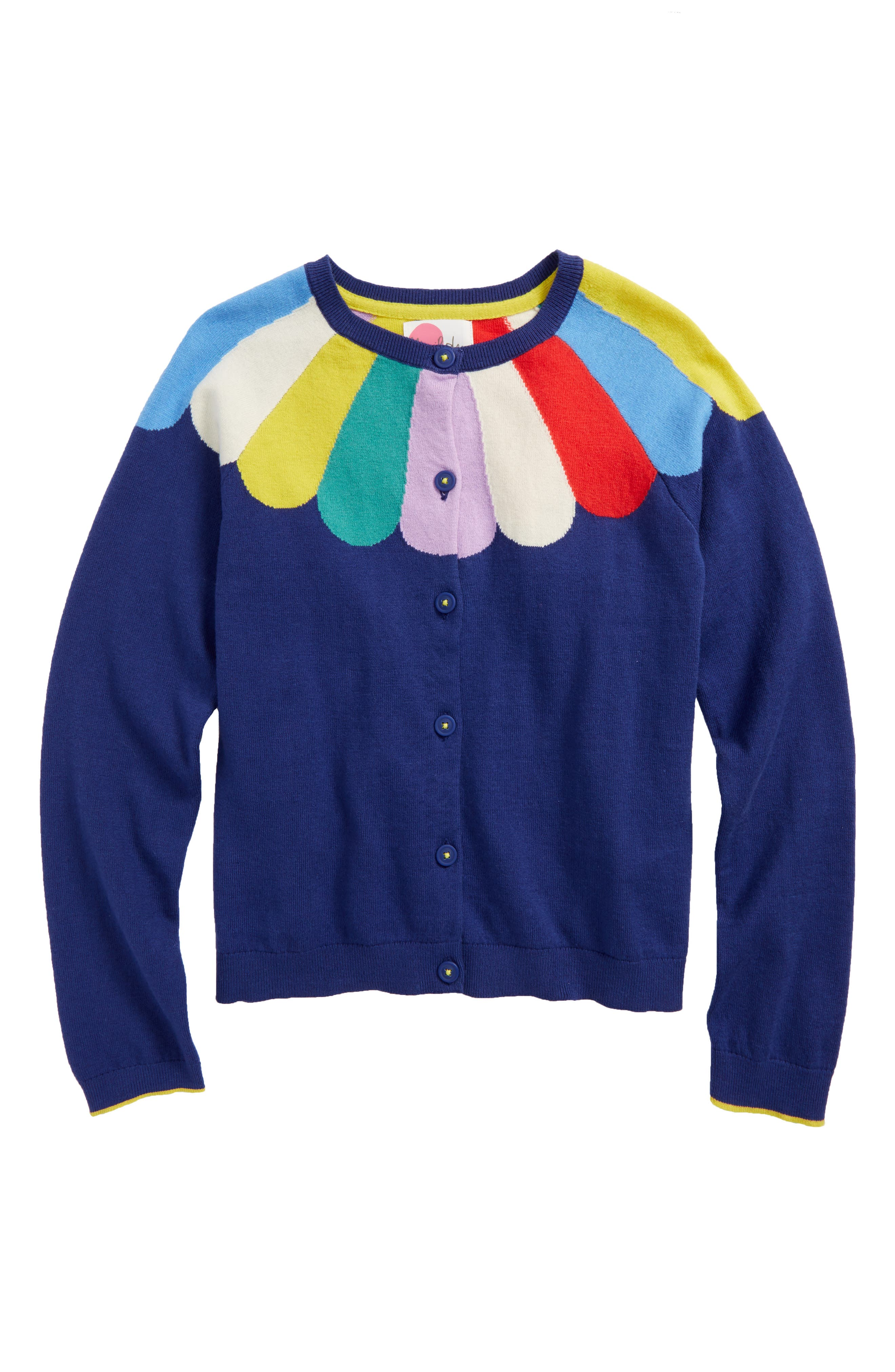 Fun Cardigan,                             Main thumbnail 1, color,                             Starboard/Rainbow Yoke