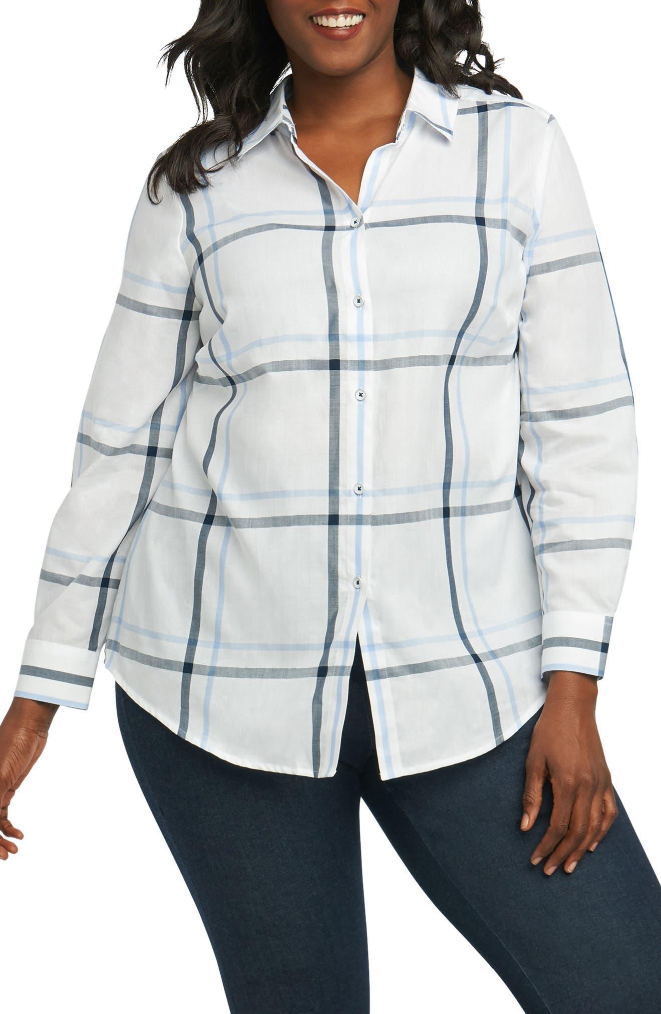 Alternate Image 1 Selected - Foxcroft Coralie Plaid Woven Shirt (Plus Size)