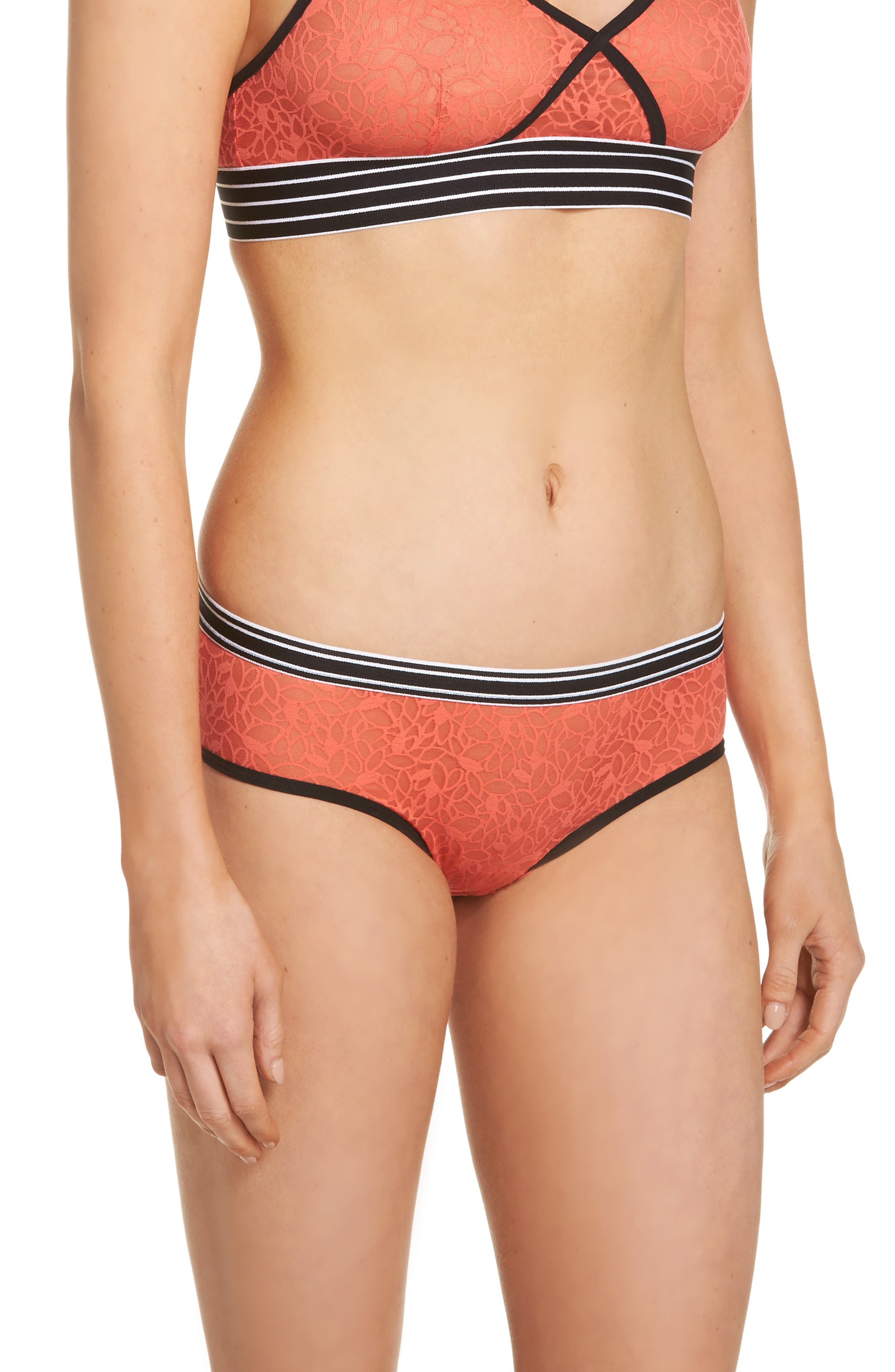 Lori Lace Hipster Panties,                             Alternate thumbnail 3, color,                             Coral Hot