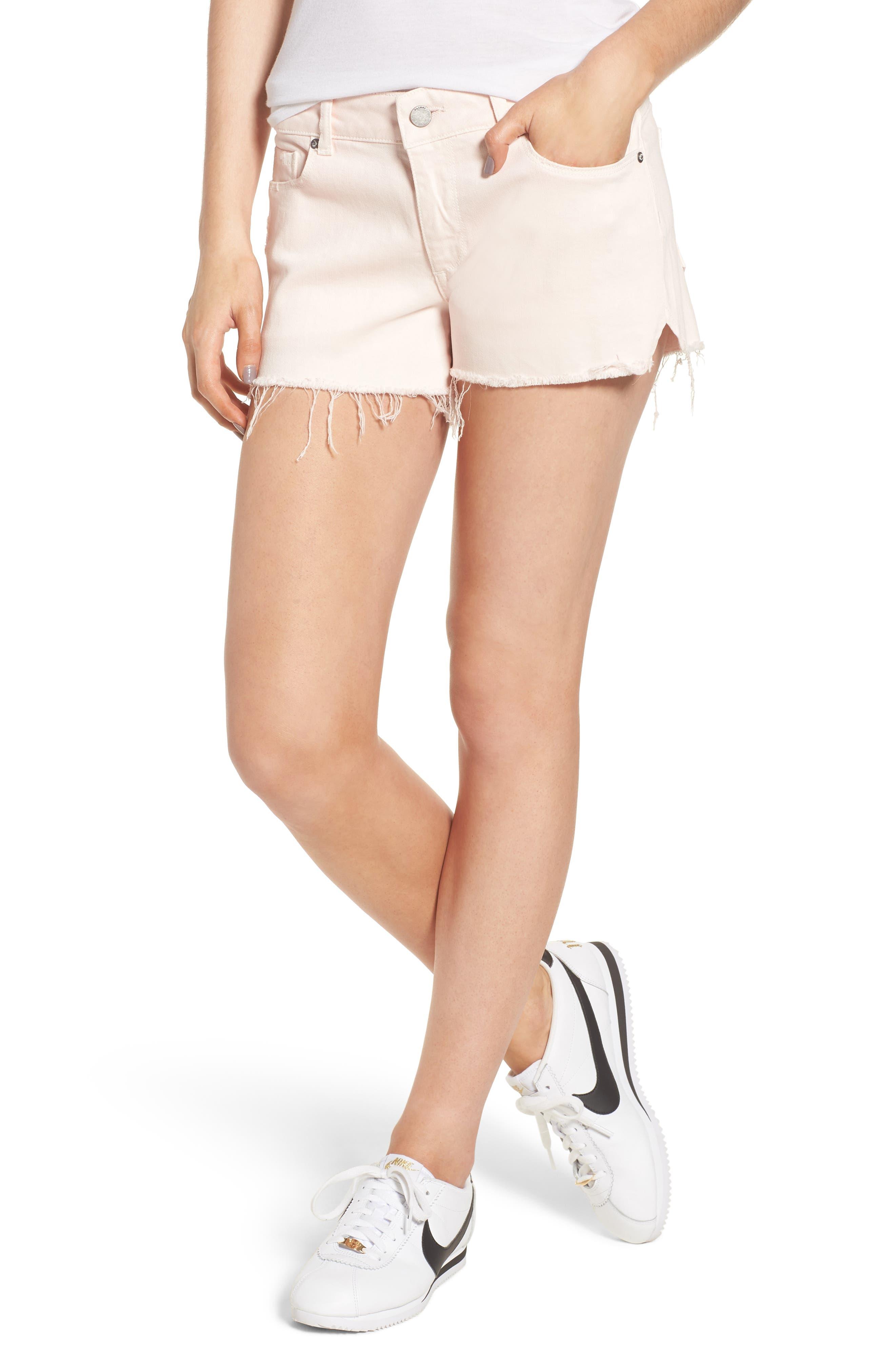 Renee Notch Raw Hem Denim Shorts,                             Main thumbnail 1, color,                             Blush Pink