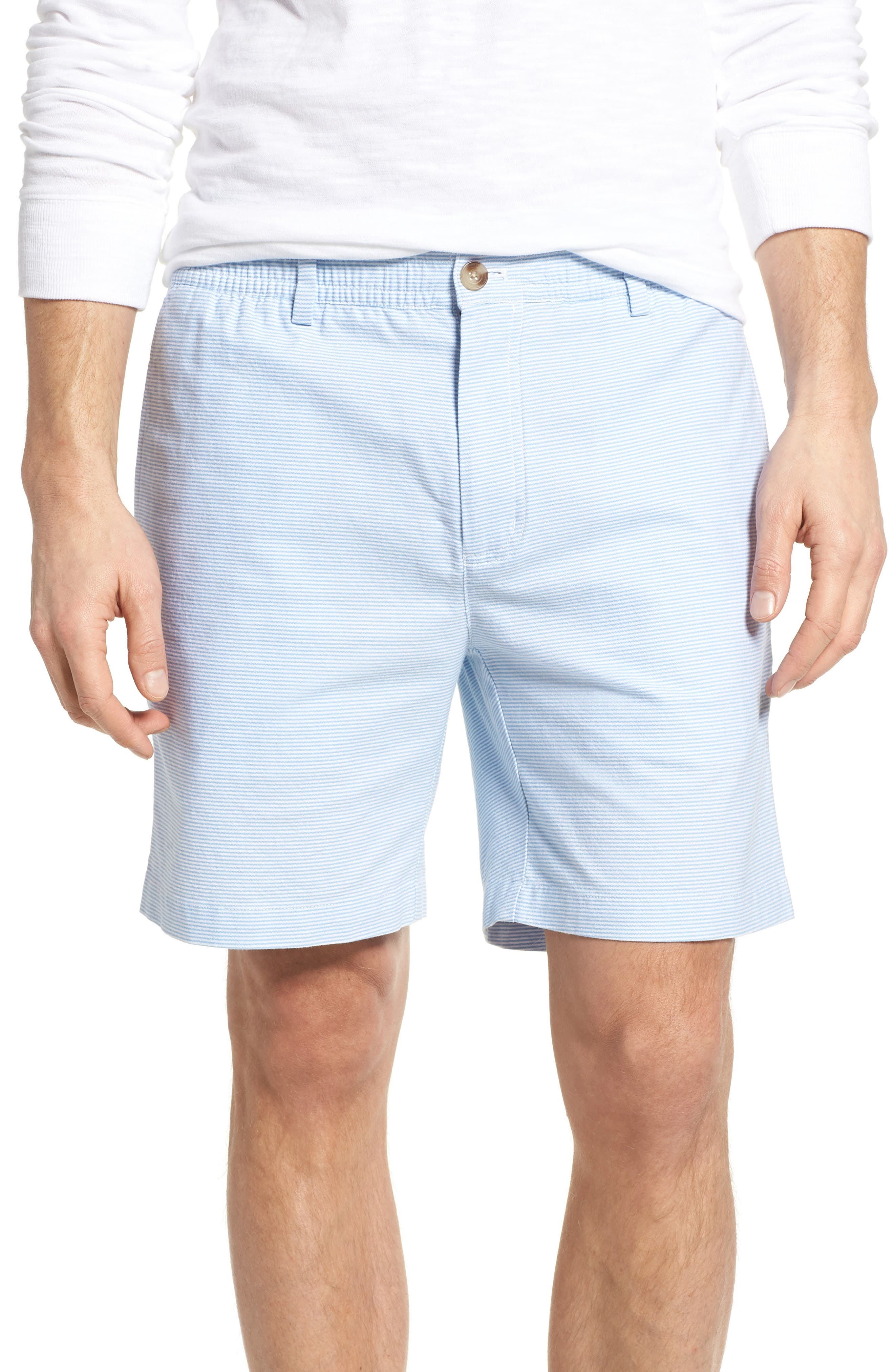 Jetty Stripe Stretch Cotton Shorts,                         Main,                         color, Ocean Breeze
