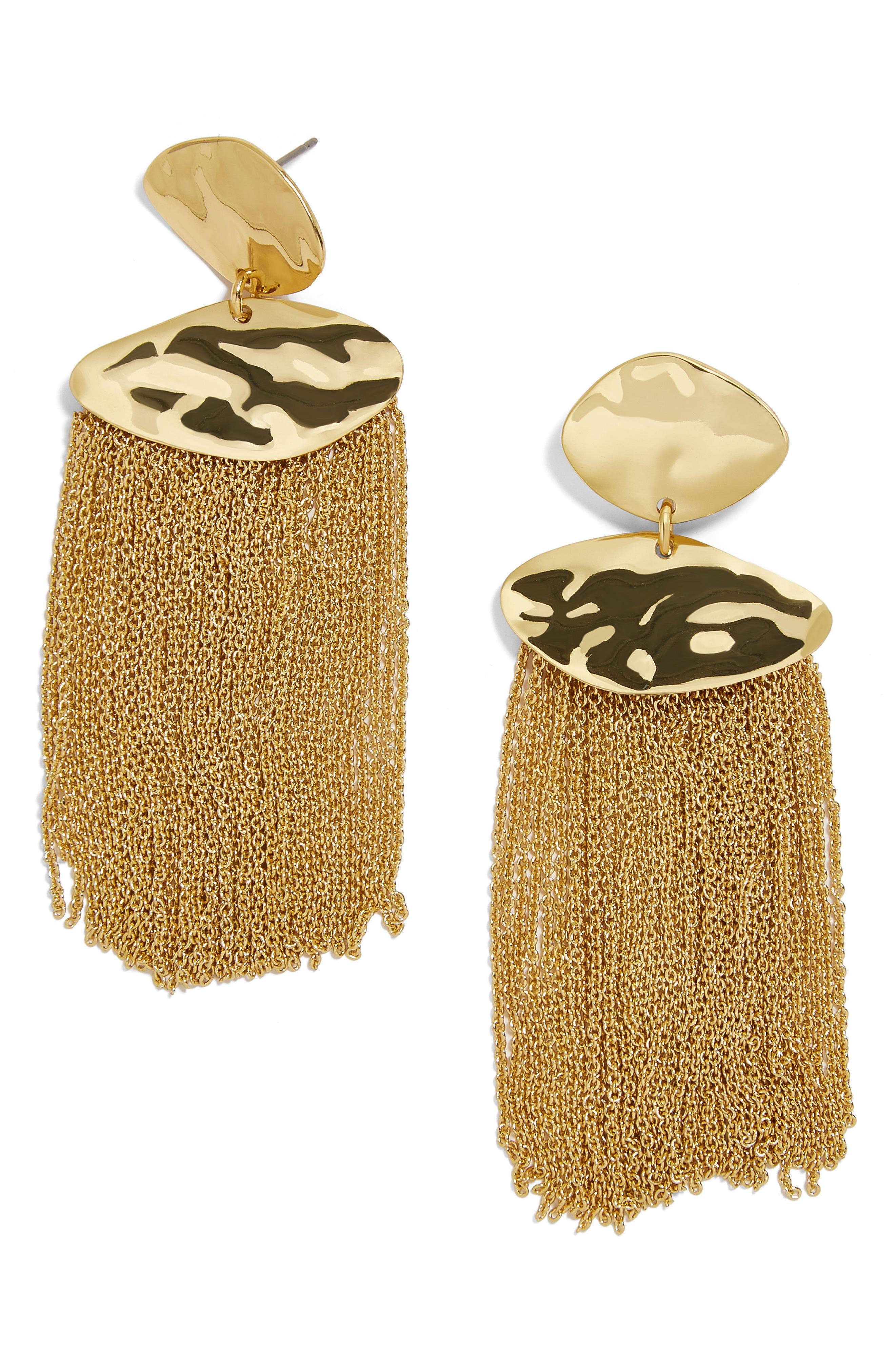 Azmera Chain Fringe Earrings,                             Main thumbnail 1, color,                             Gold