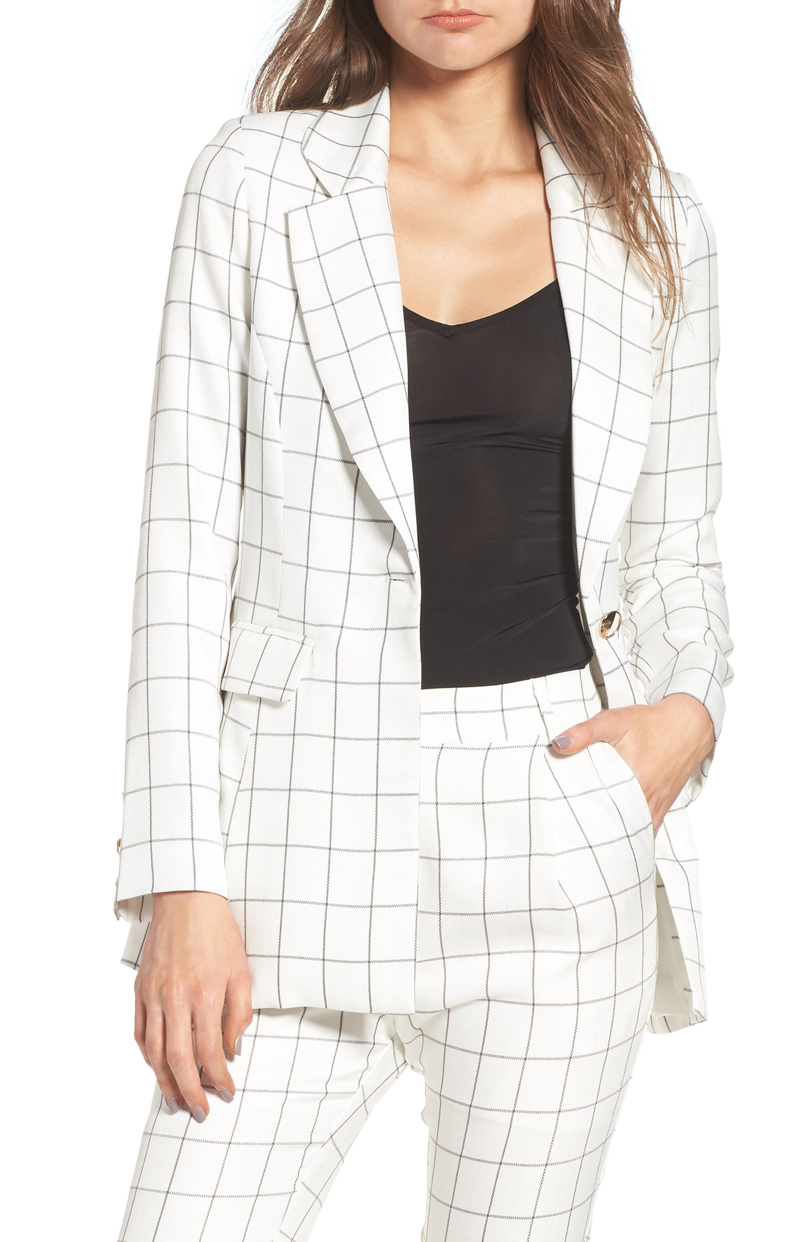 Chriselle x J.O.A. Plaid Blazer,                         Main,                         color, White