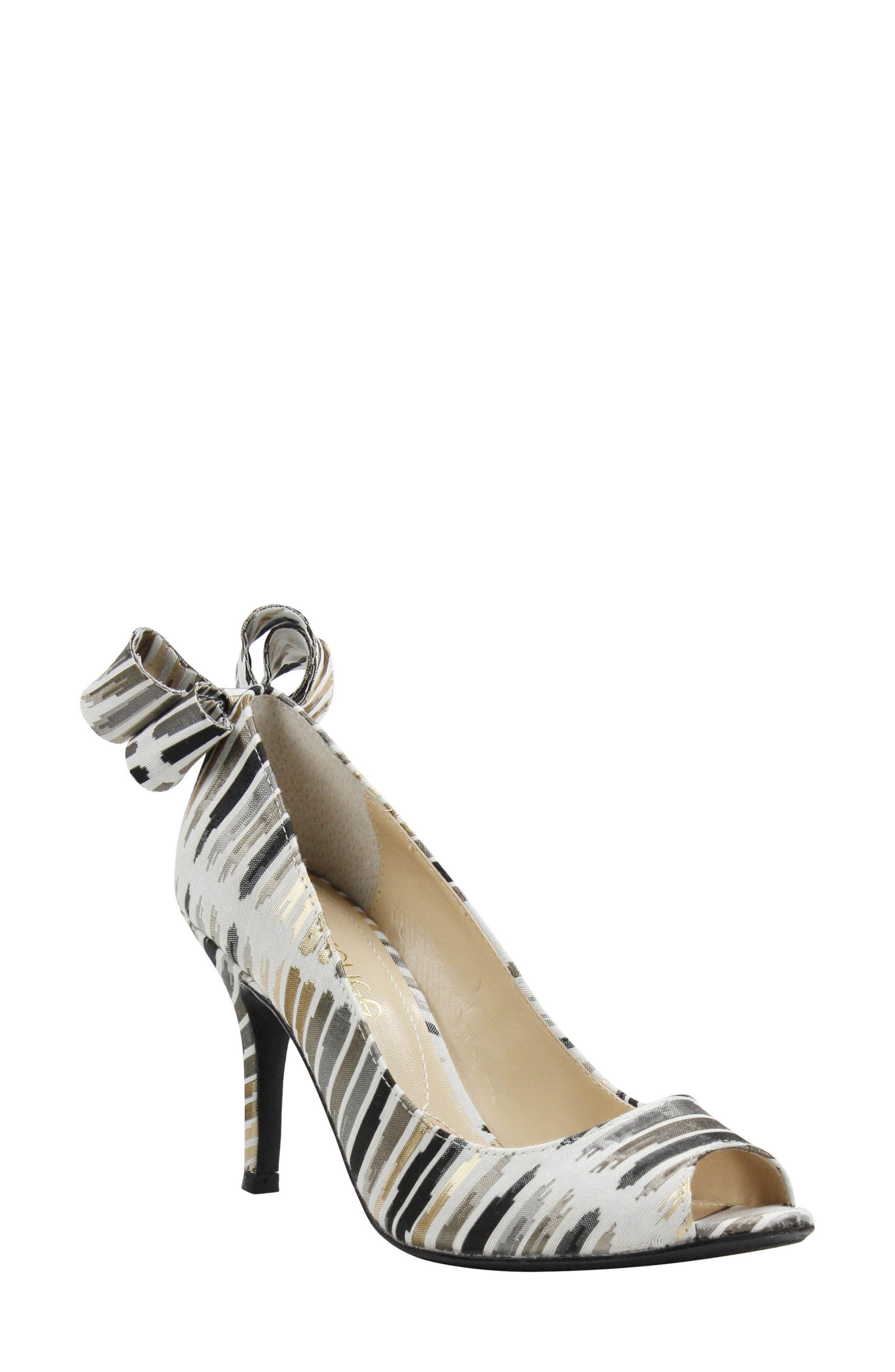 Ellasee Bow Peep Toe Pump,                             Main thumbnail 1, color,                             Cream/ Black/ Gold Fabric