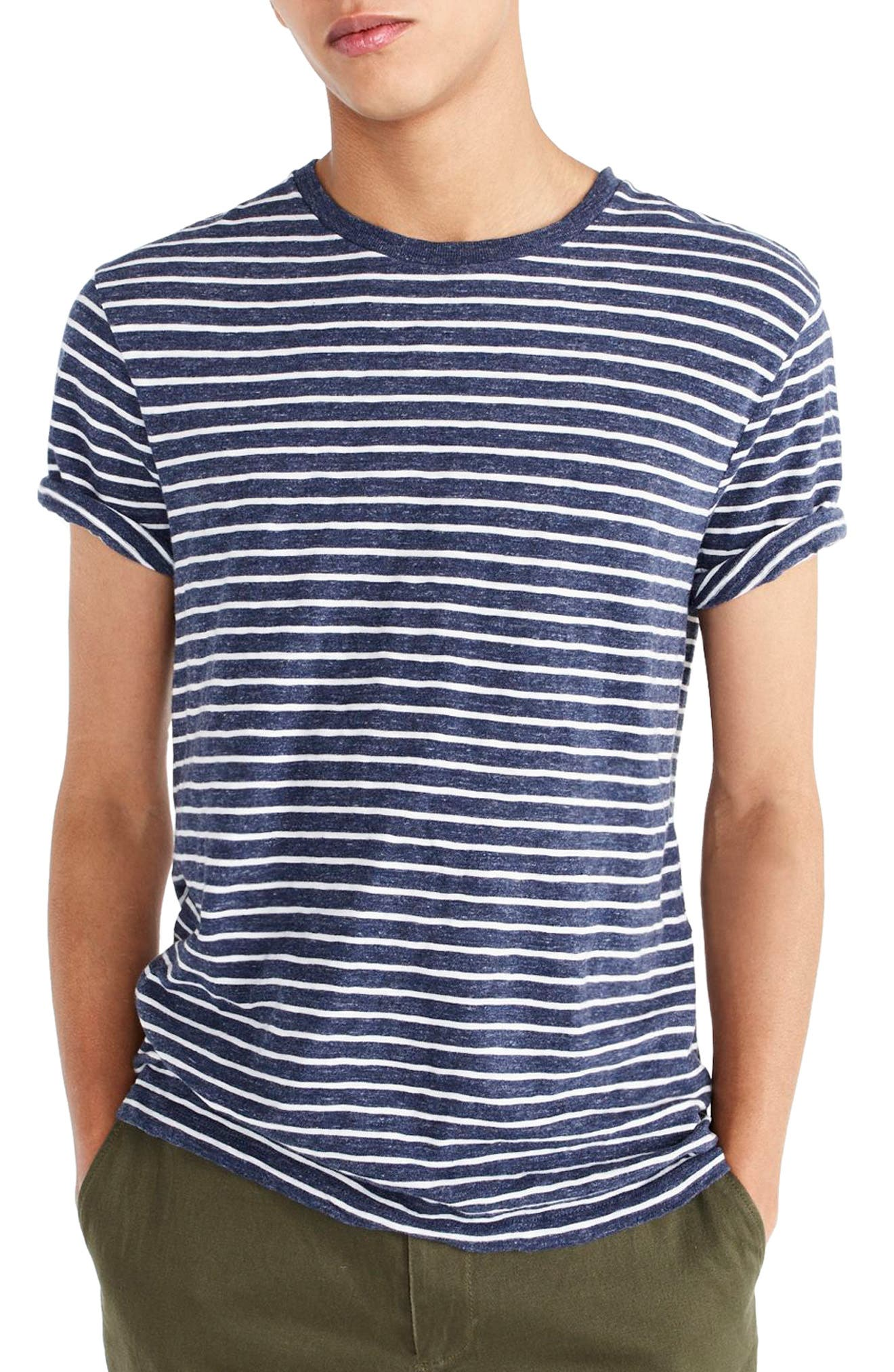 J.Crew Stripe Slub Cotton T-Shirt,                         Main,                         color, Heather Ink