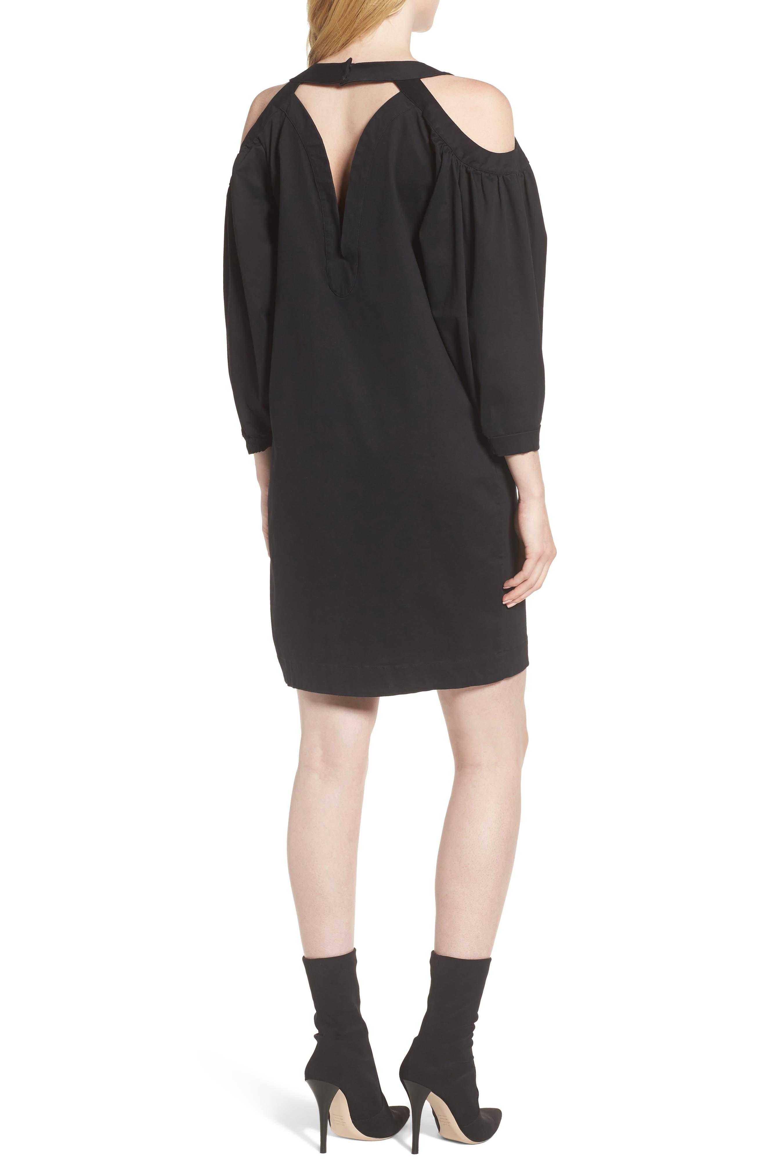 Cold Shoulder Dress,                             Alternate thumbnail 2, color,                             Black