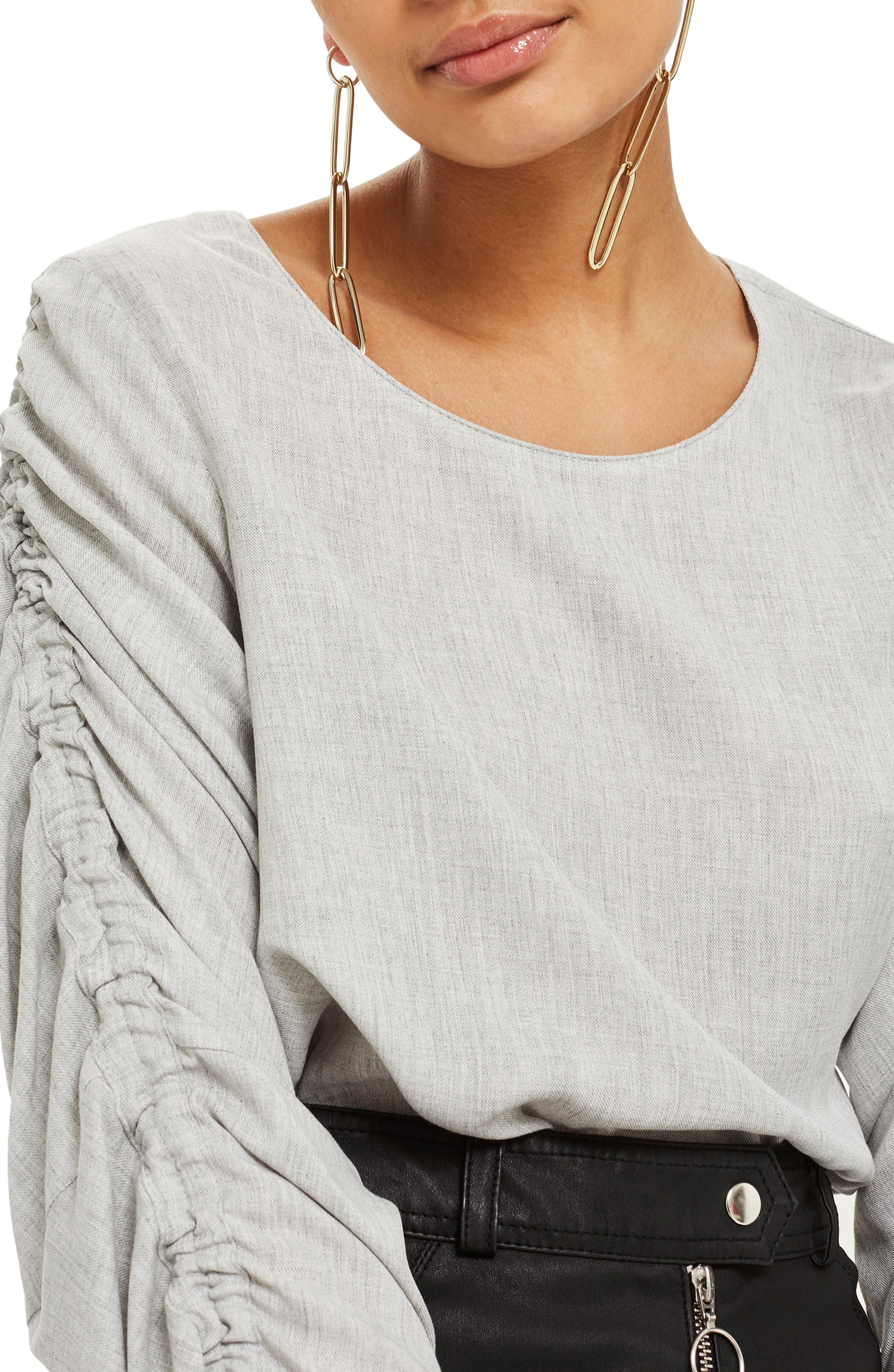 Ruched Sleeve Shirt,                             Alternate thumbnail 3, color,                             Grey