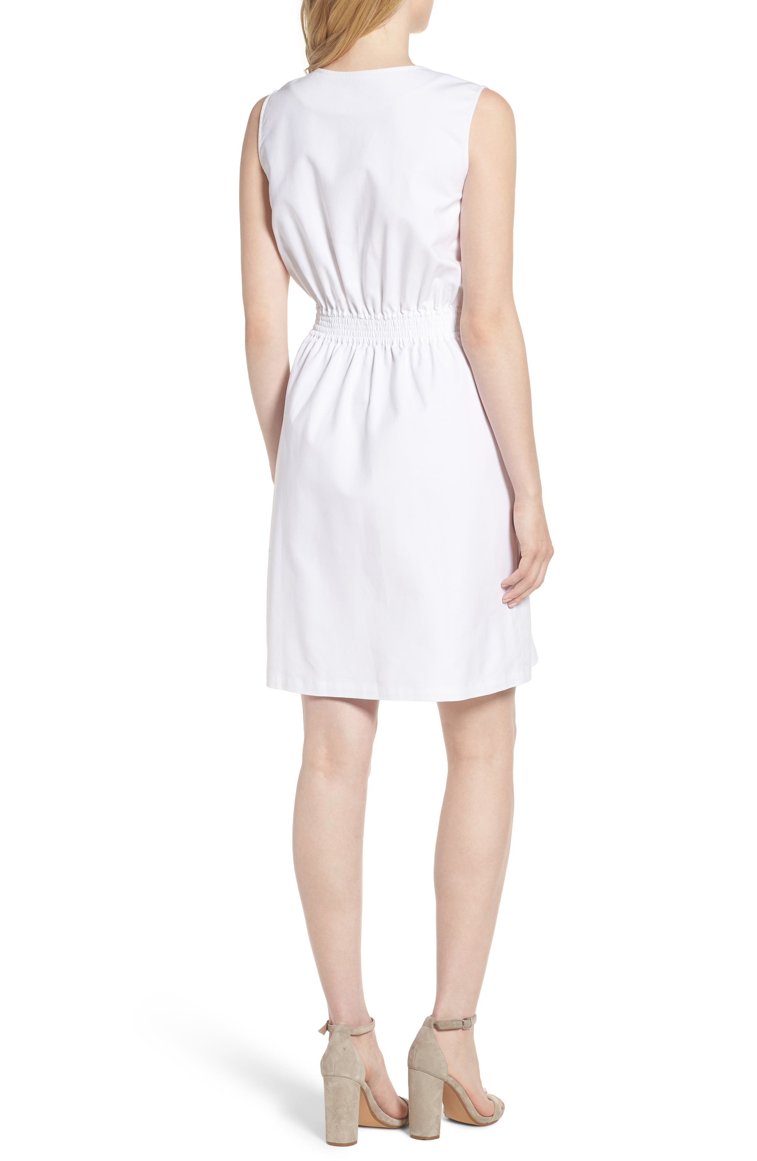 Astoria Zip Front Dress,                             Alternate thumbnail 2, color,                             White